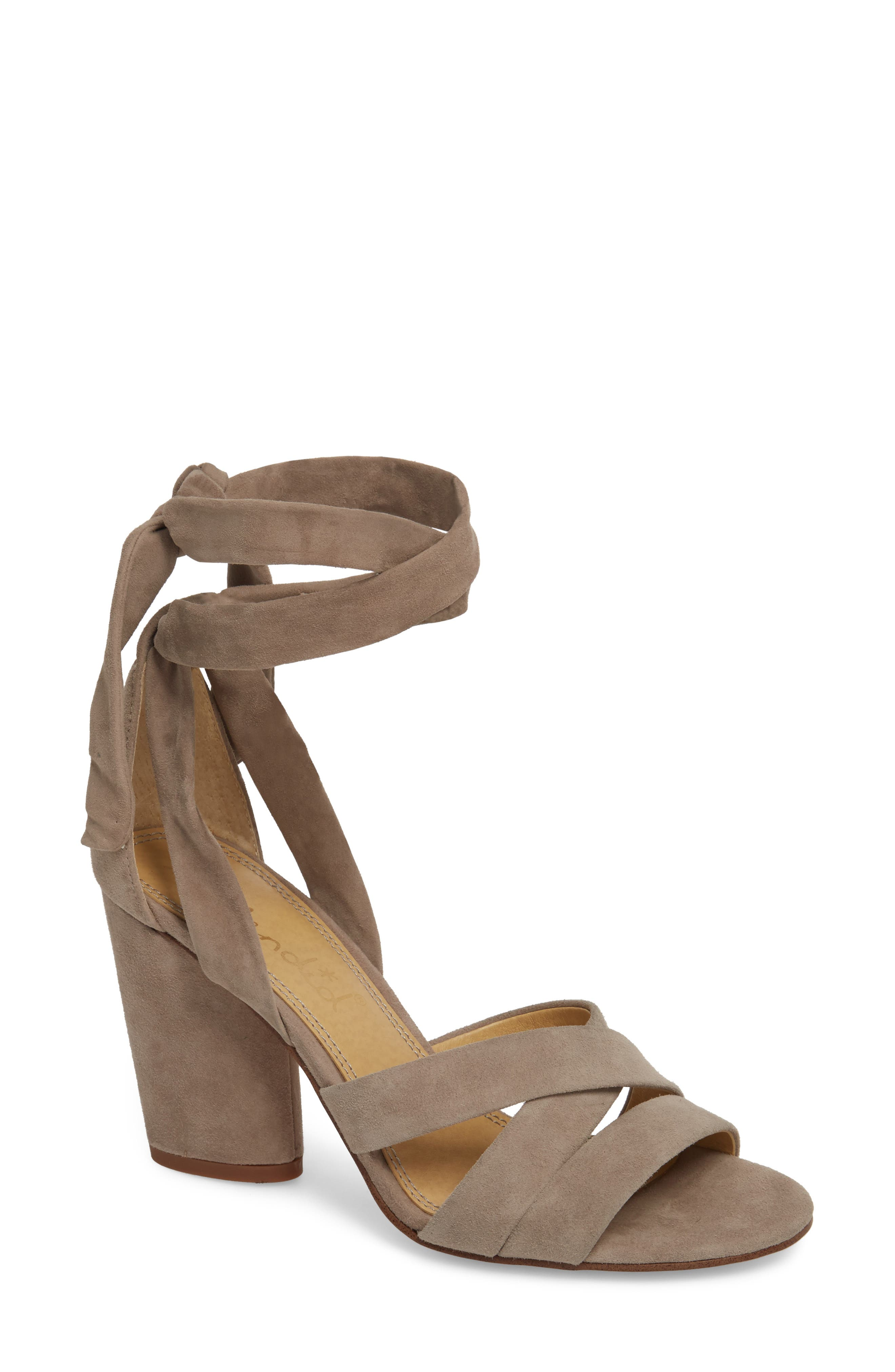 Fergie Lace-Up Sandal,                             Main thumbnail 1, color,                             Taupe Suede