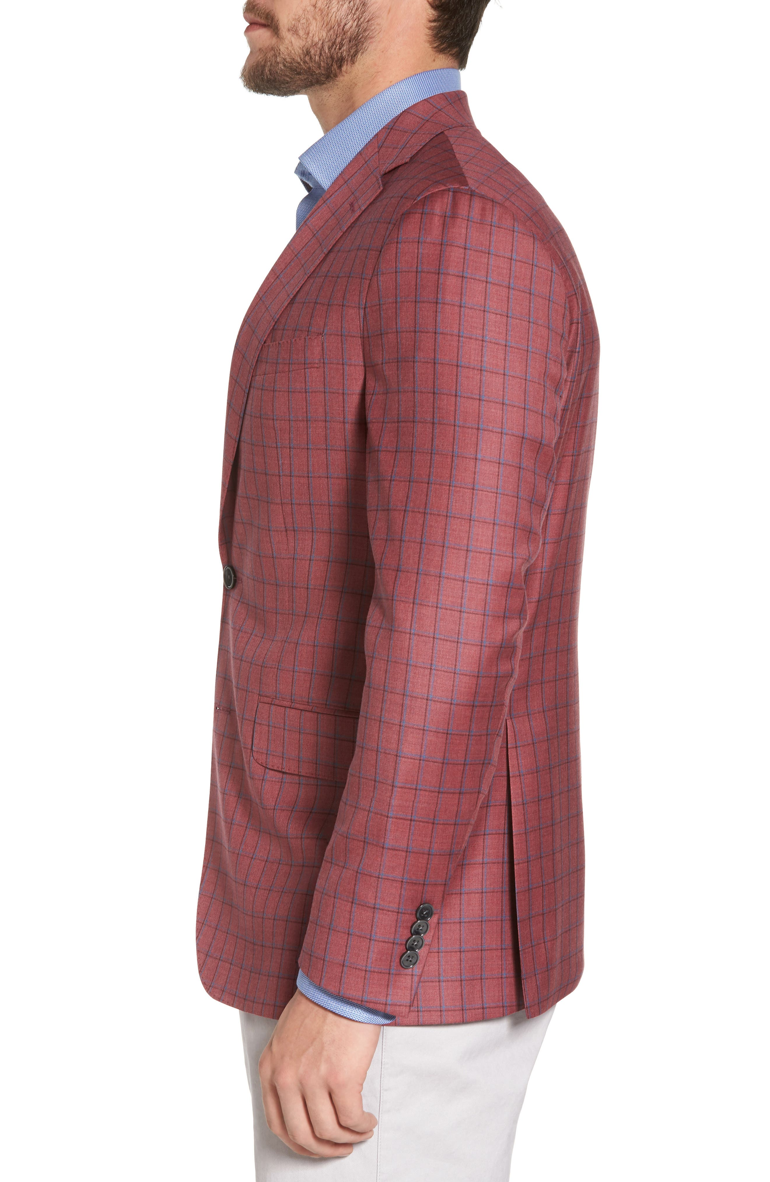 Arnold Classic Fit Plaid Wool Sport Coat,                             Alternate thumbnail 3, color,                             Red