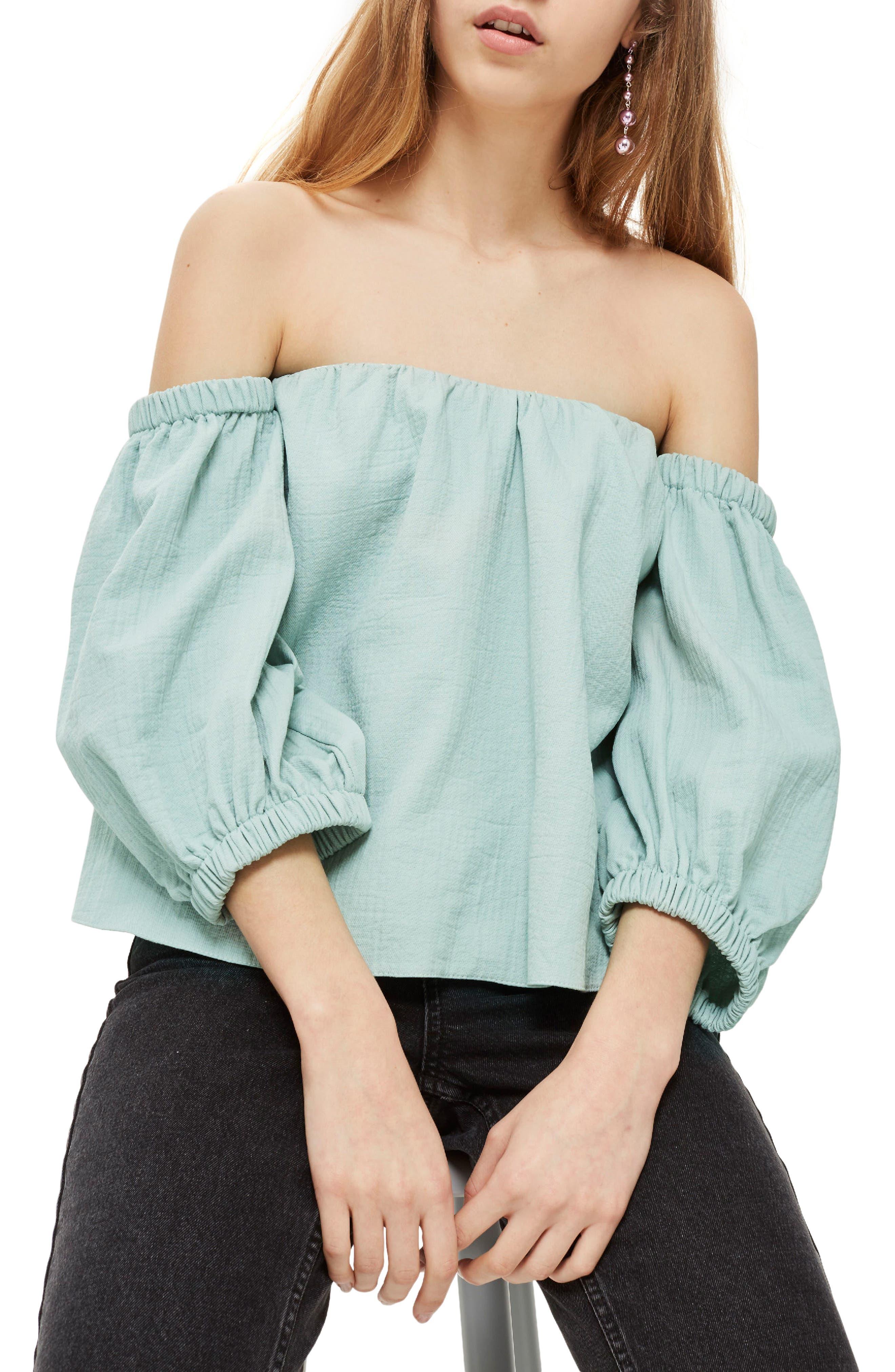 Main Image - Topshop Laundered Bardot Top