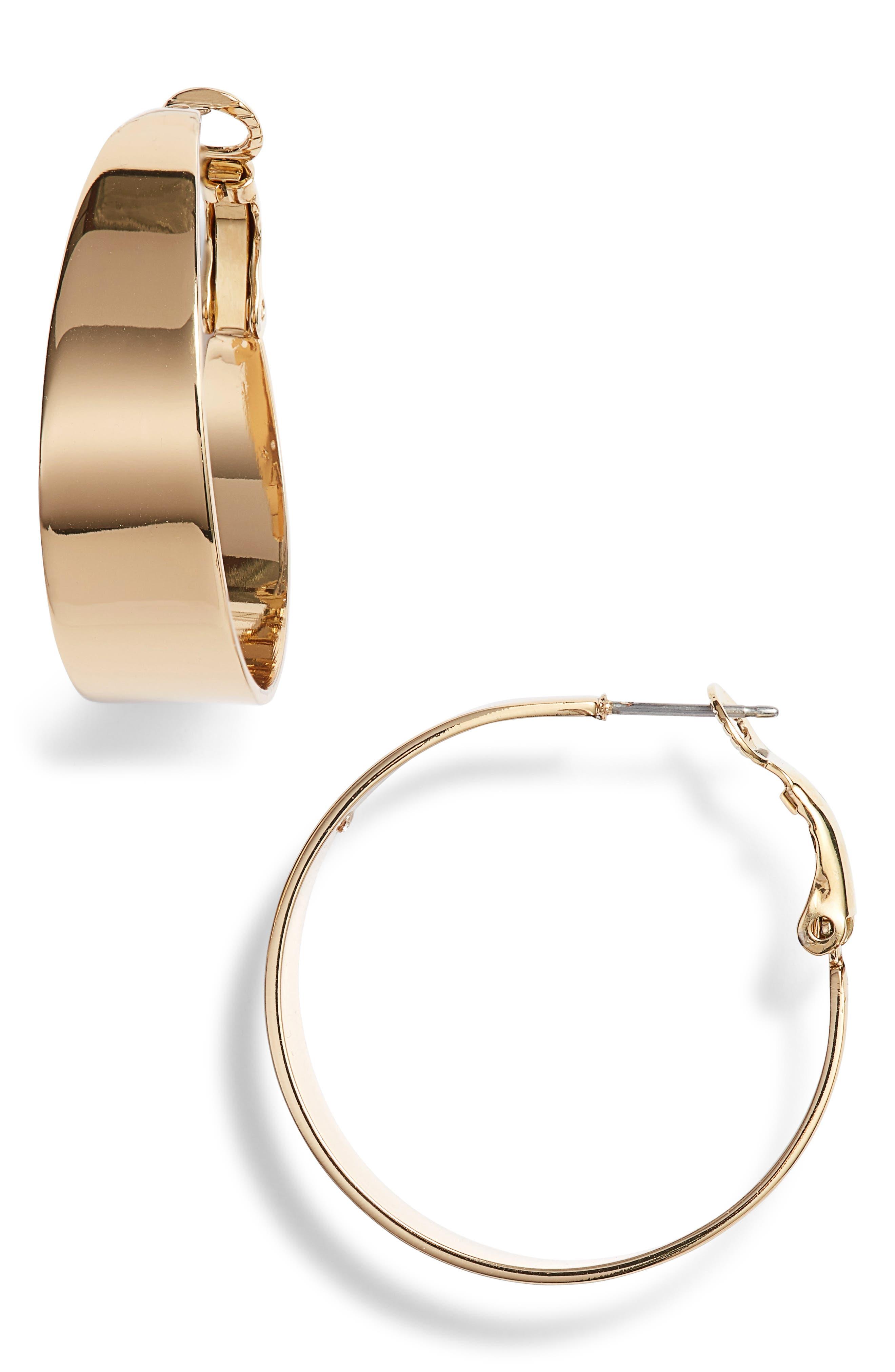 Medium Tapered Hoop Earrings,                             Main thumbnail 1, color,                             Gold
