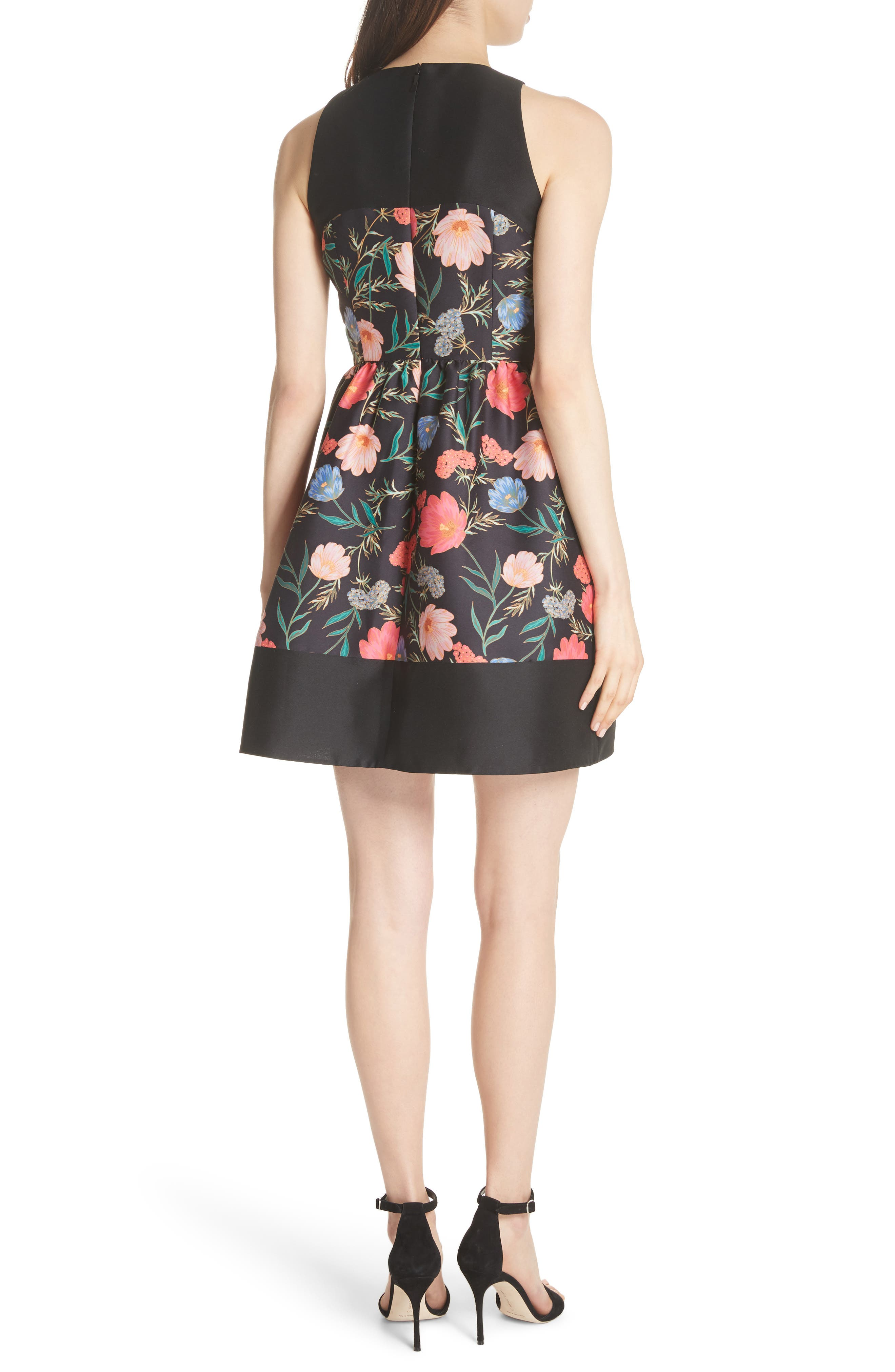 blossom mikado minidress,                             Alternate thumbnail 2, color,                             Black