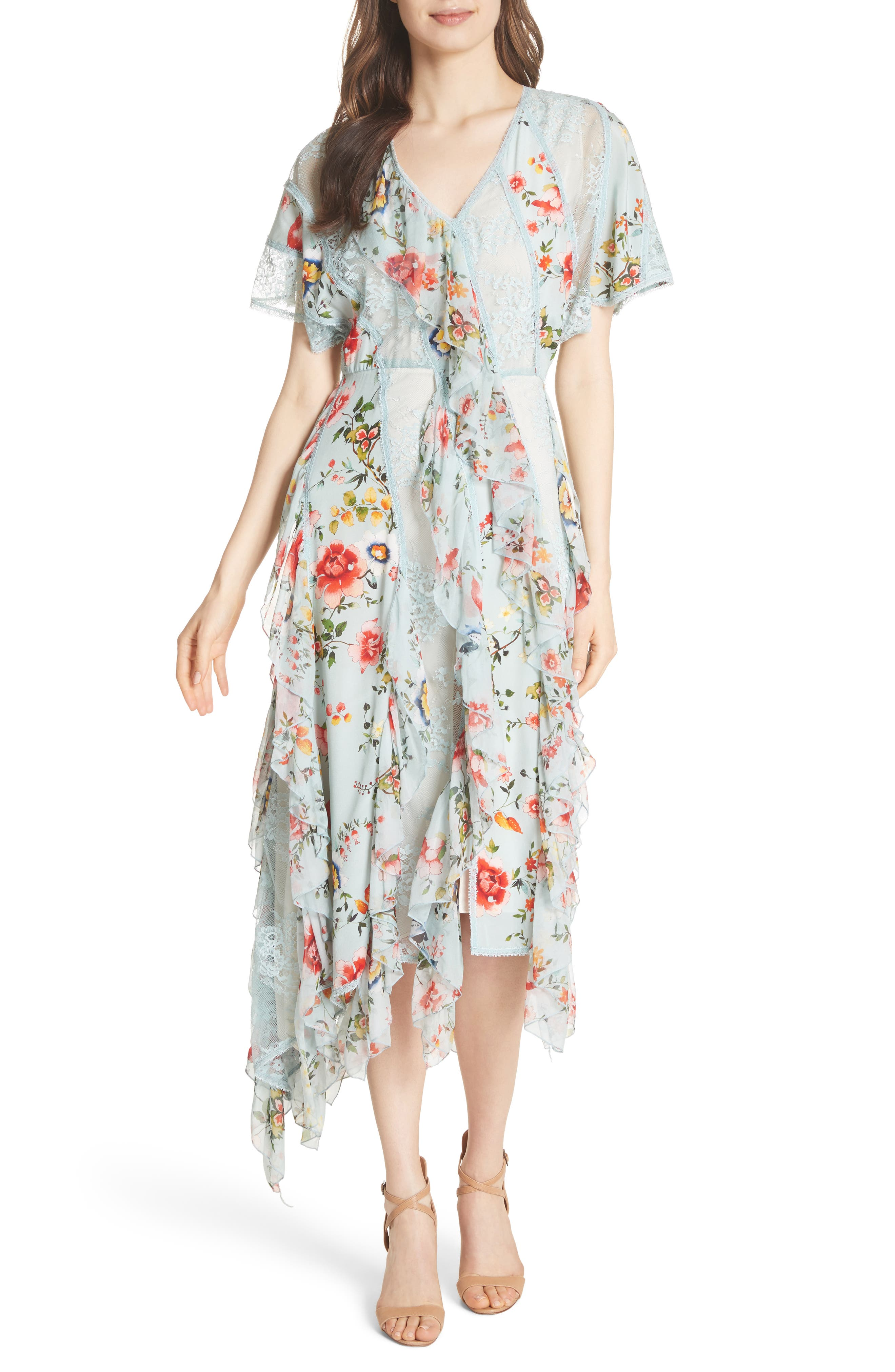 Main Image - Alice + Olivia Kadence Ruffled Silk & Lace Midi Dress