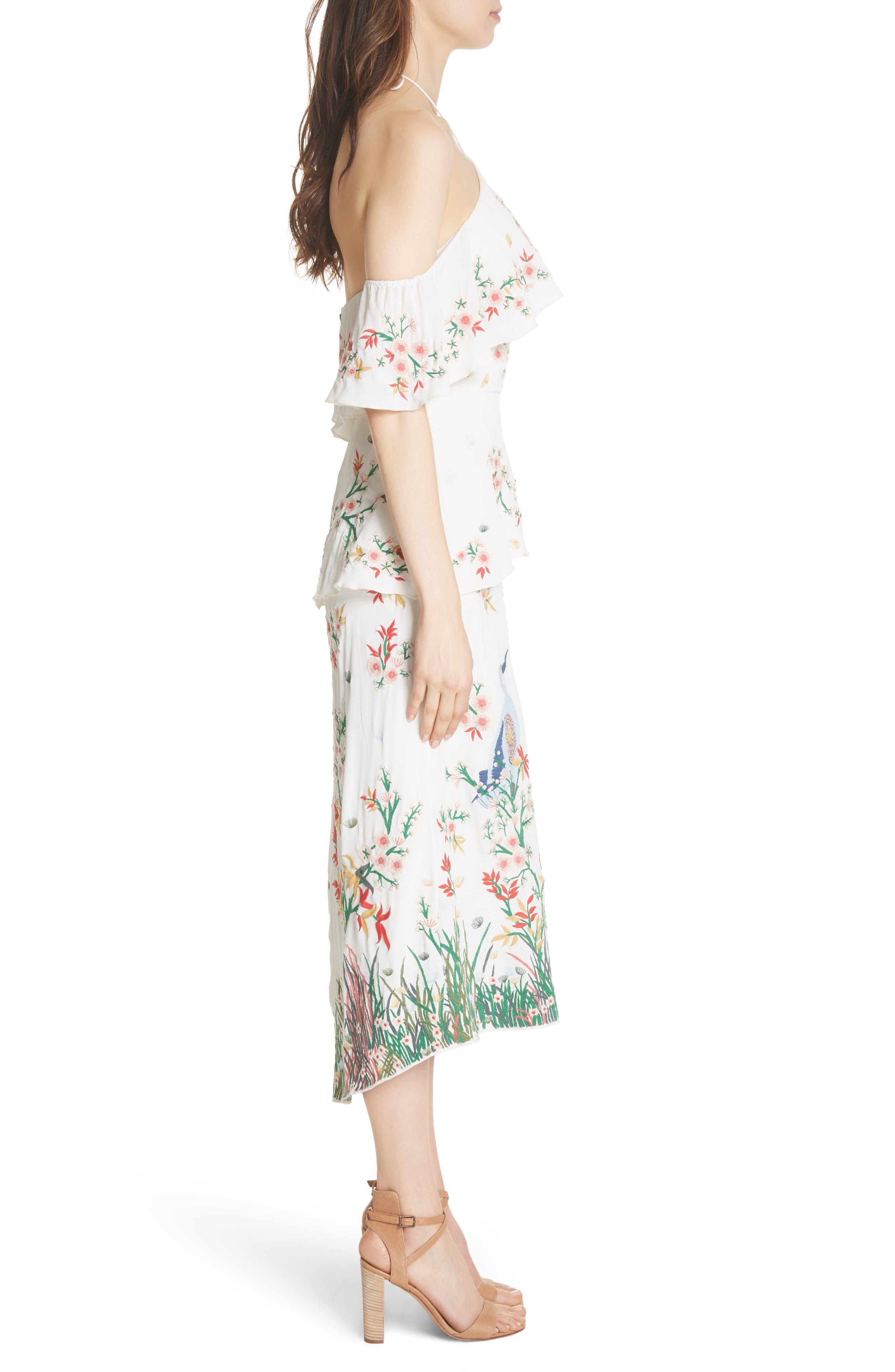 Golda Embroidered Midi Halter Dress,                             Alternate thumbnail 3, color,                             Cream/ Multi