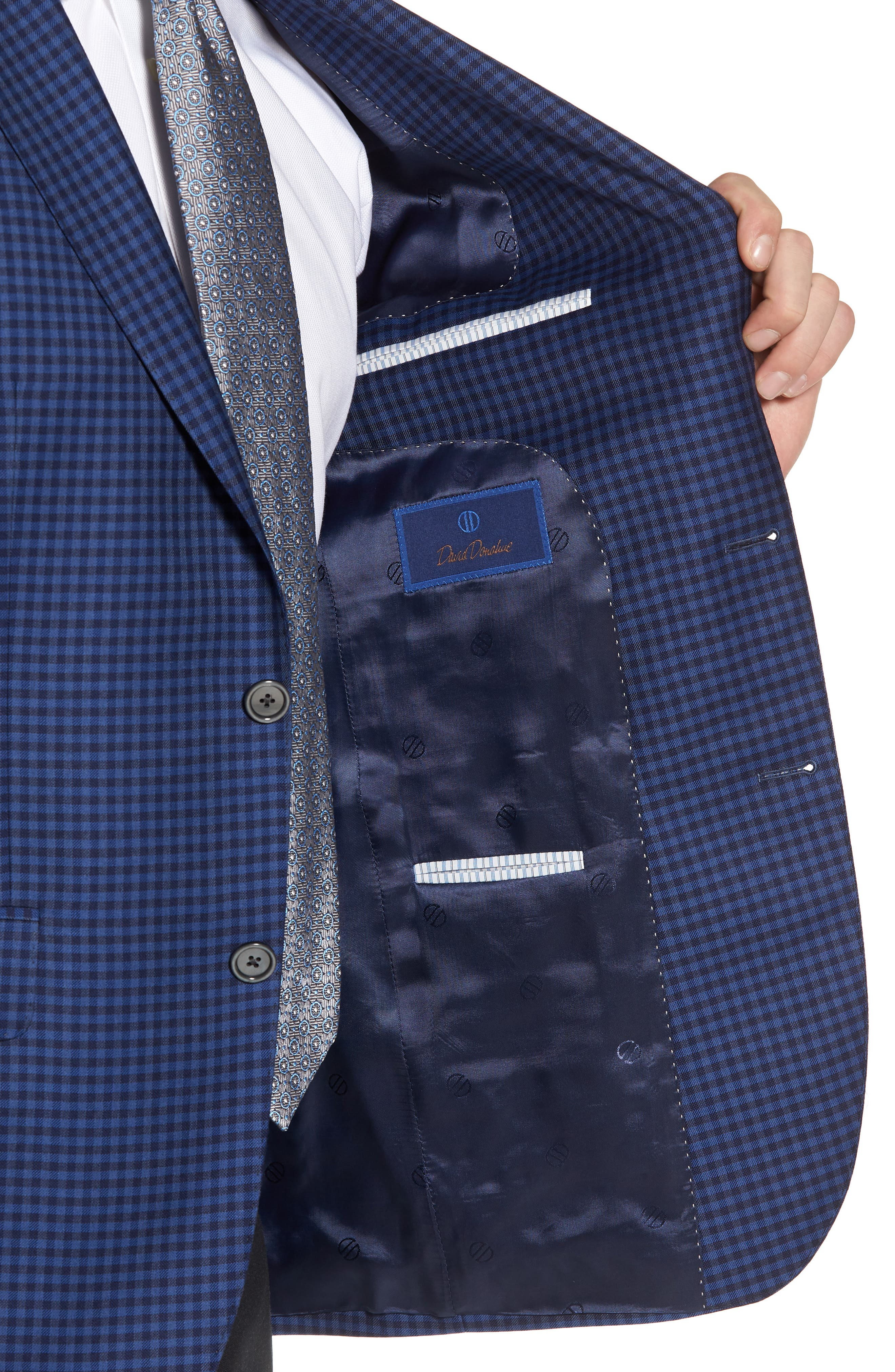 Connor Classic Fit Check Wool Sport Coat,                             Alternate thumbnail 4, color,                             Medium Blue