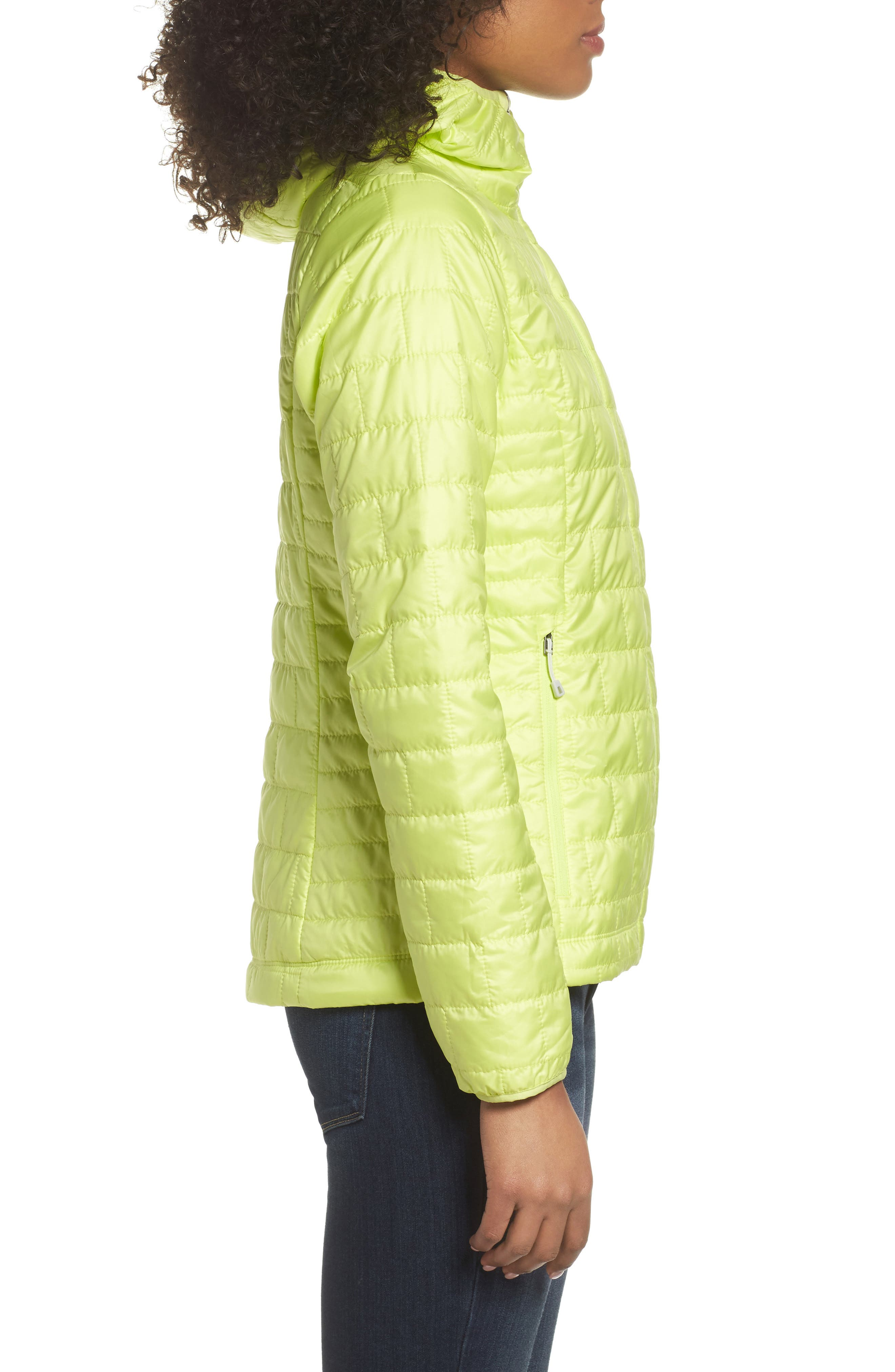 Nano Puff<sup>®</sup> Hooded Water Resistant Jacket,                             Alternate thumbnail 3, color,                             Celery Green