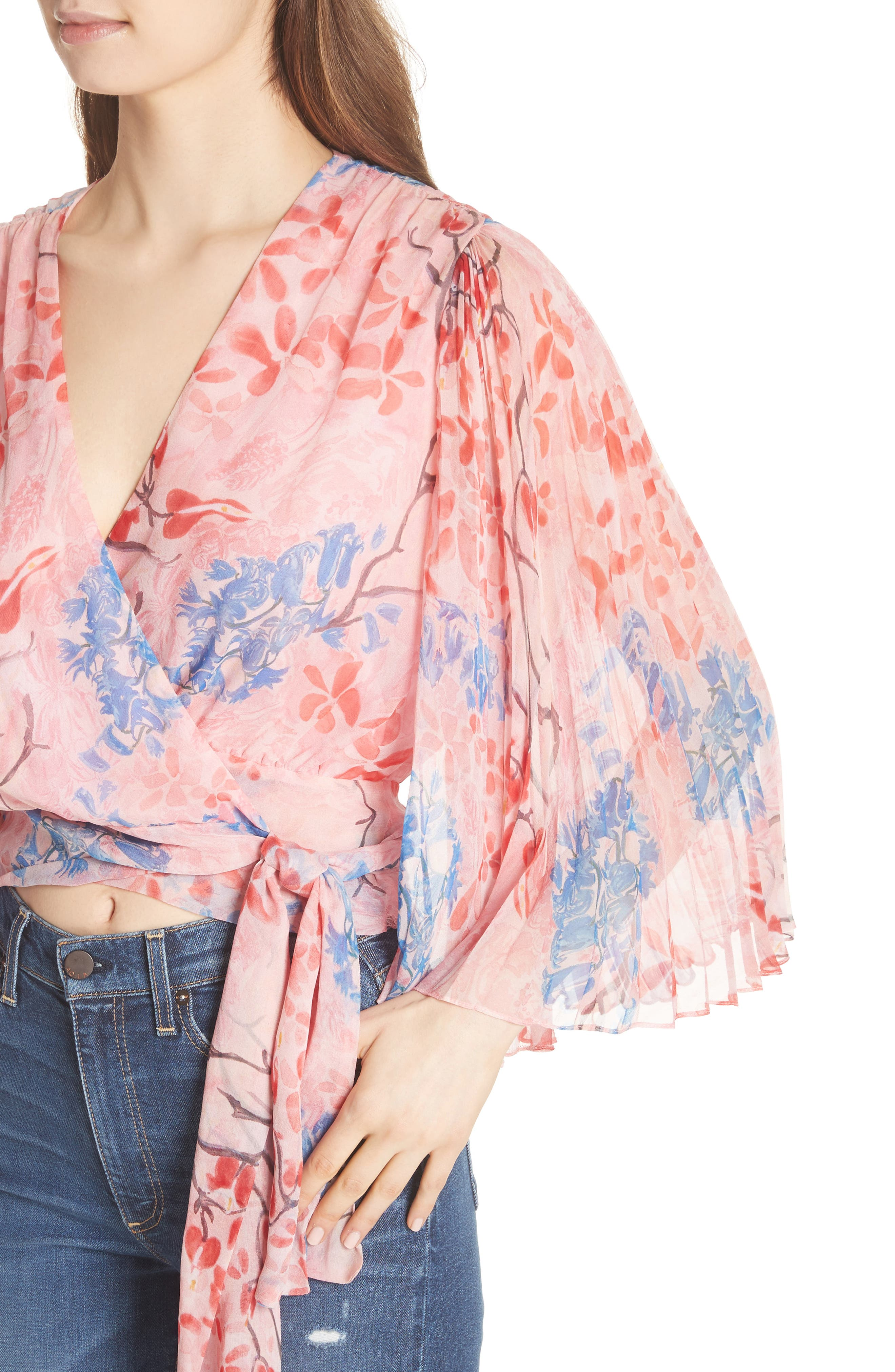 Pleat Sleeve Silk Wrap Top,                             Alternate thumbnail 4, color,                             Lola Floral