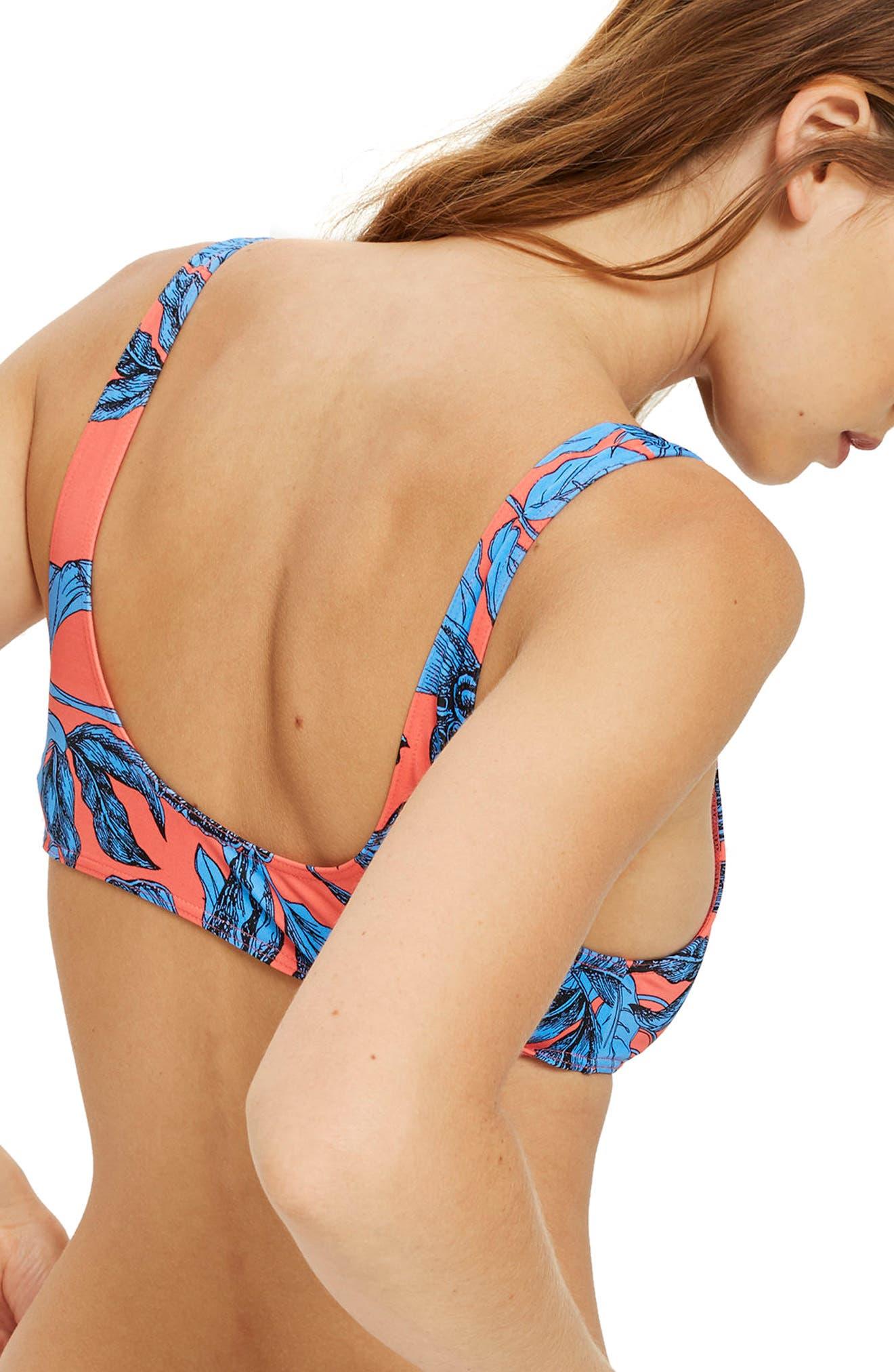Floral Scoop-Neck Bikini Top,                             Alternate thumbnail 2, color,                             Blue Multi