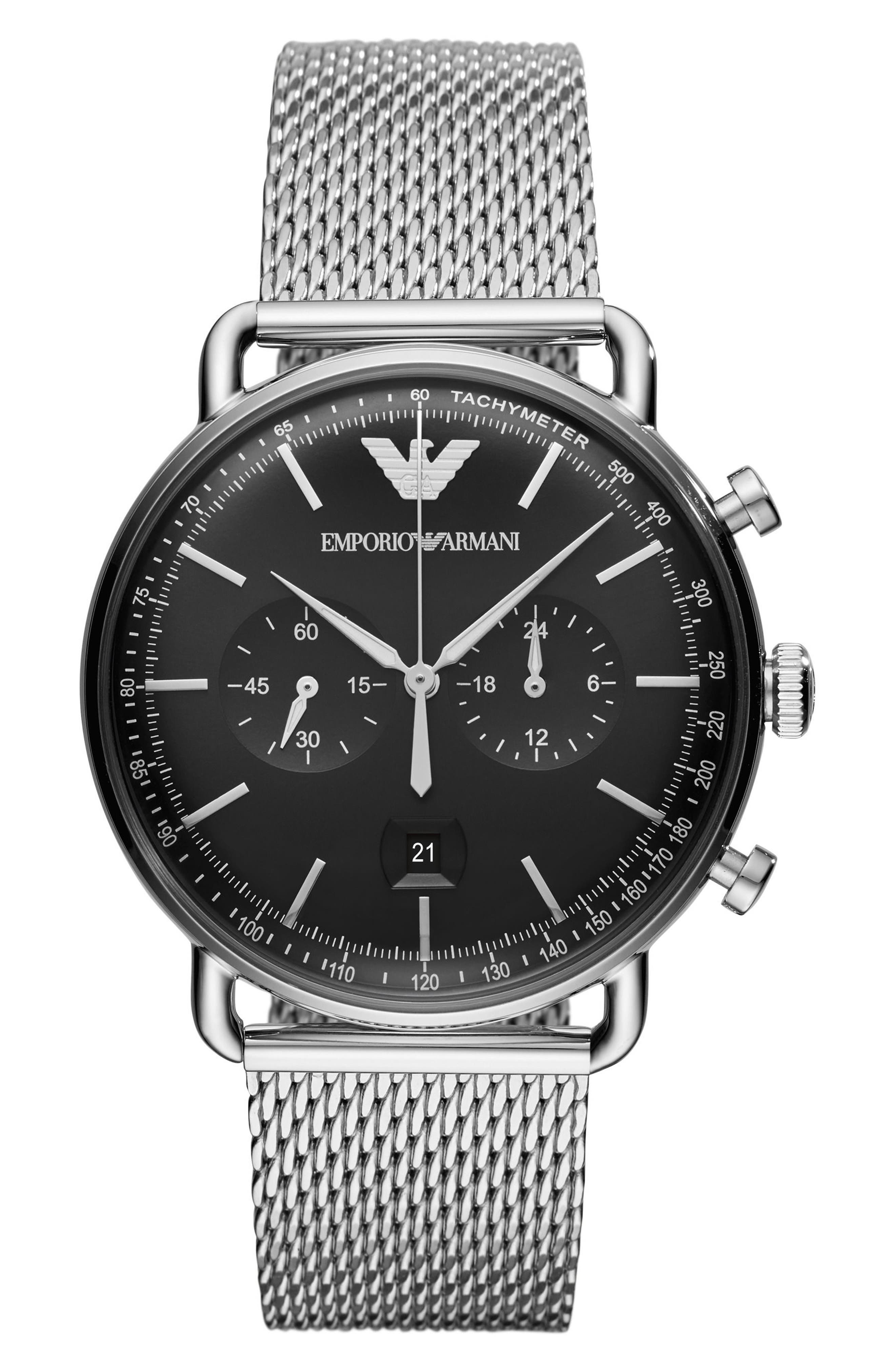 Chronograph Mesh Strap Watch, 43mm,                         Main,                         color, Black/ Stainless