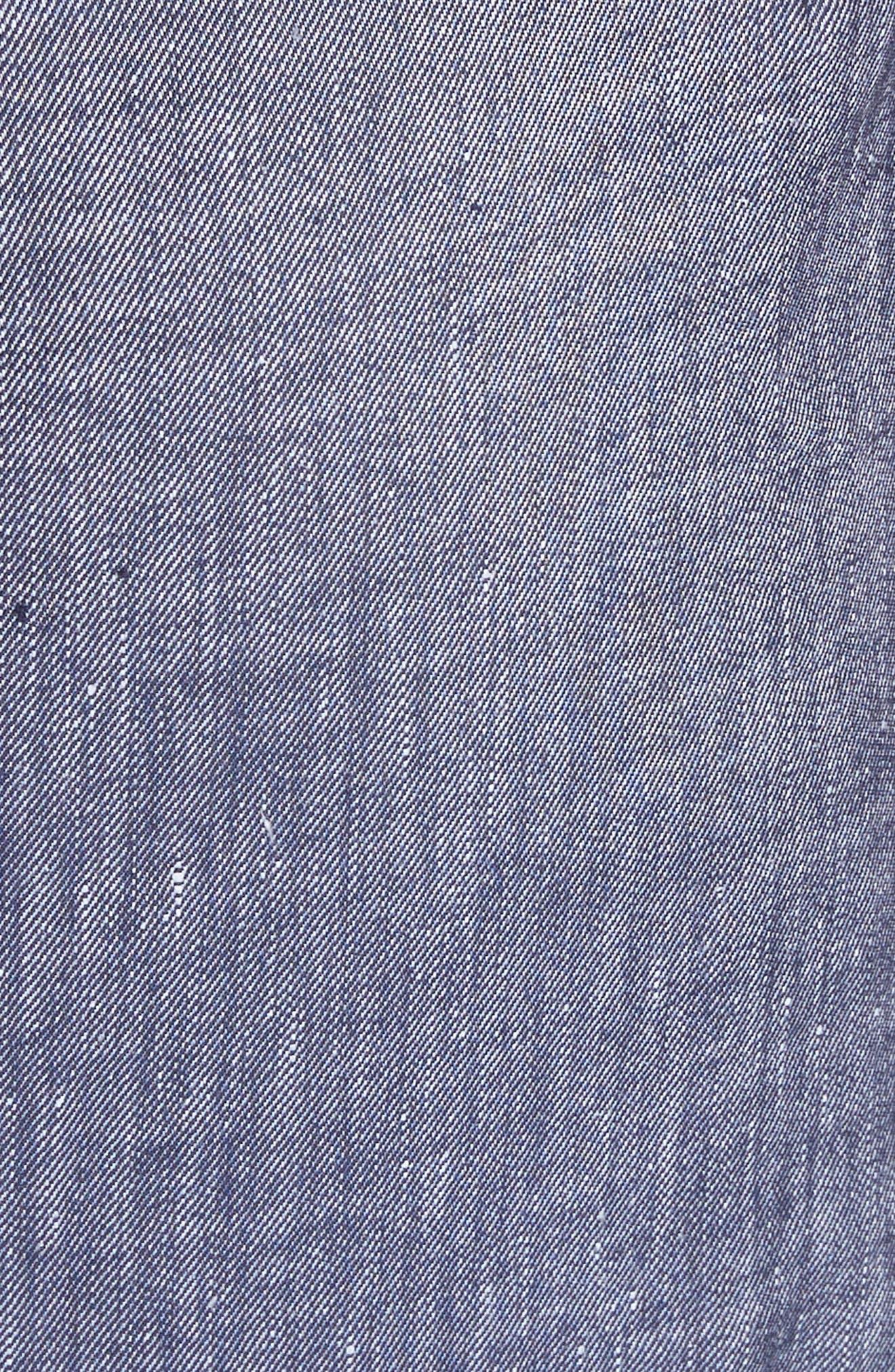 Apron Ruffle Midi Dress,                             Alternate thumbnail 5, color,                             Blue