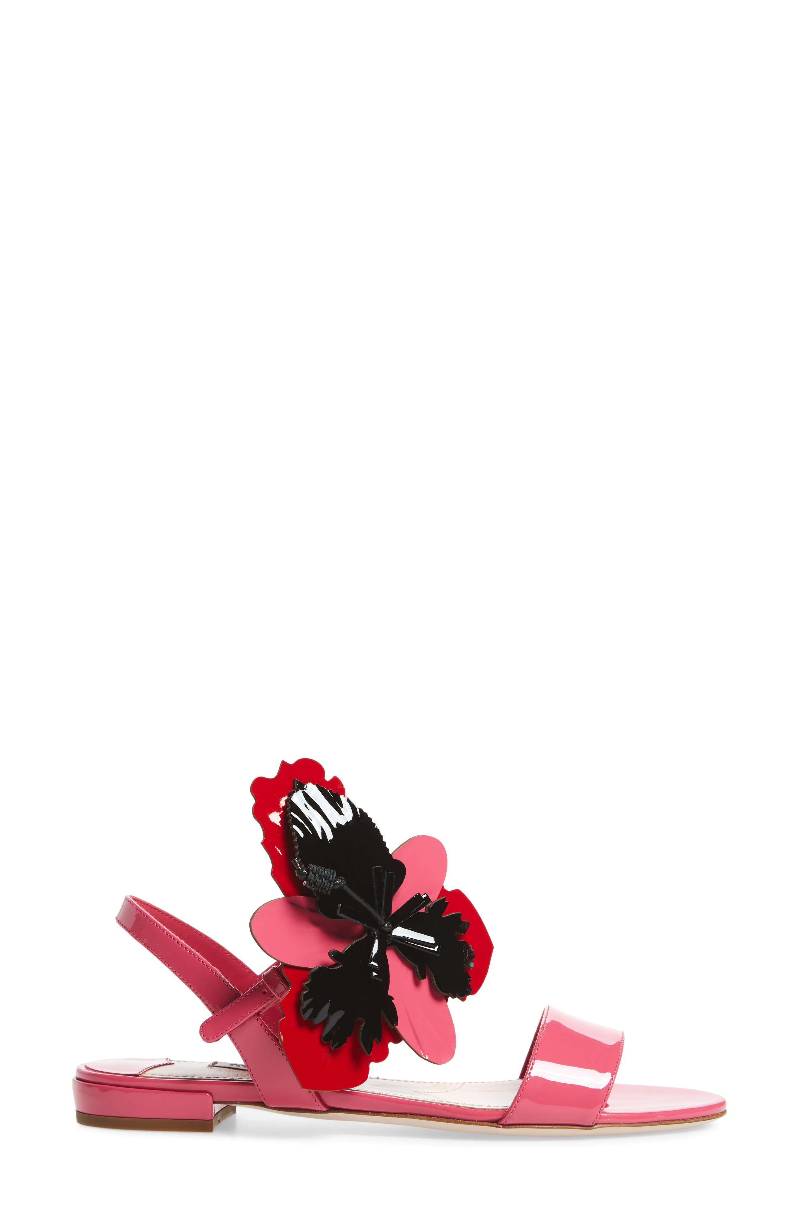 Floral Embellished Strappy Sandal,                             Alternate thumbnail 3, color,                             Pink