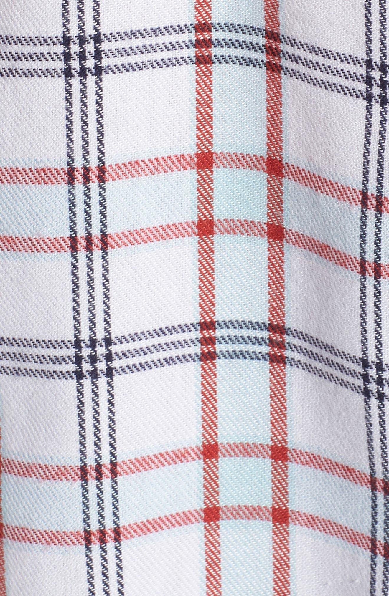 Tartan Boyfriend Shirt,                             Alternate thumbnail 5, color,                             White Weekend Tartan