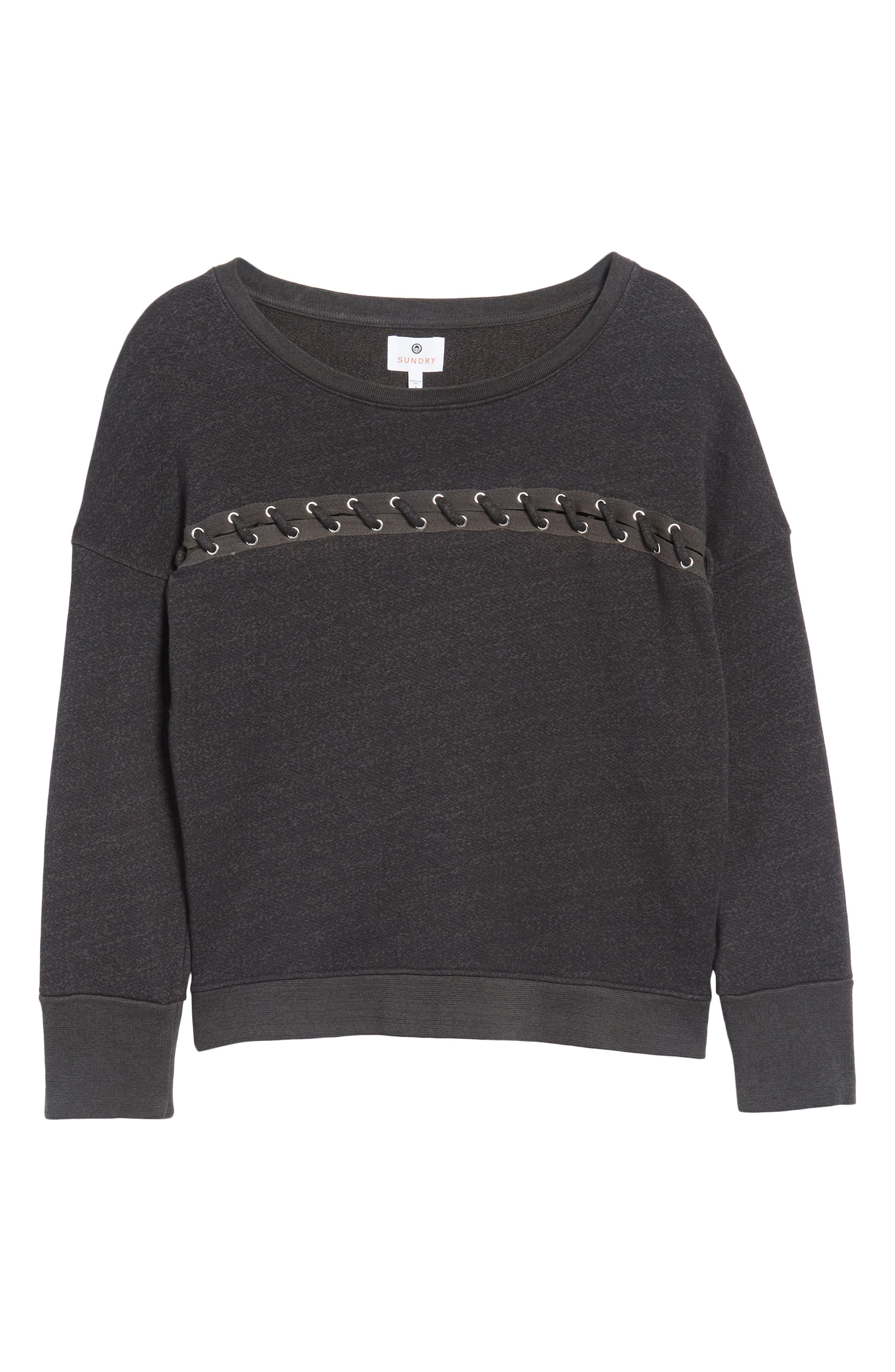 Karma Lace-Up Pullover,                             Alternate thumbnail 6, color,                             Old Black