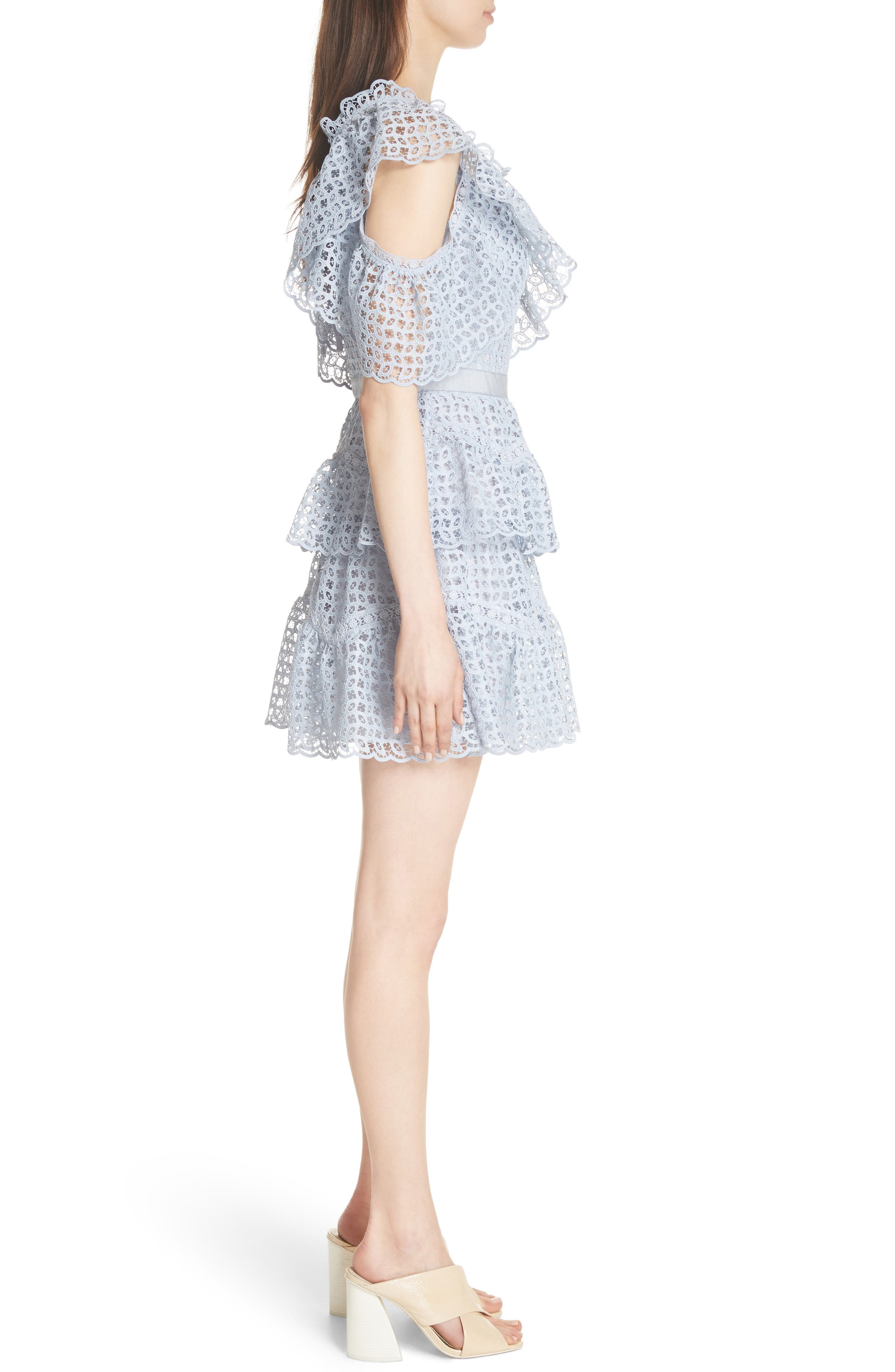 One-Shoulder Cutwork Organza Dress,                             Alternate thumbnail 3, color,                             Pale Blue