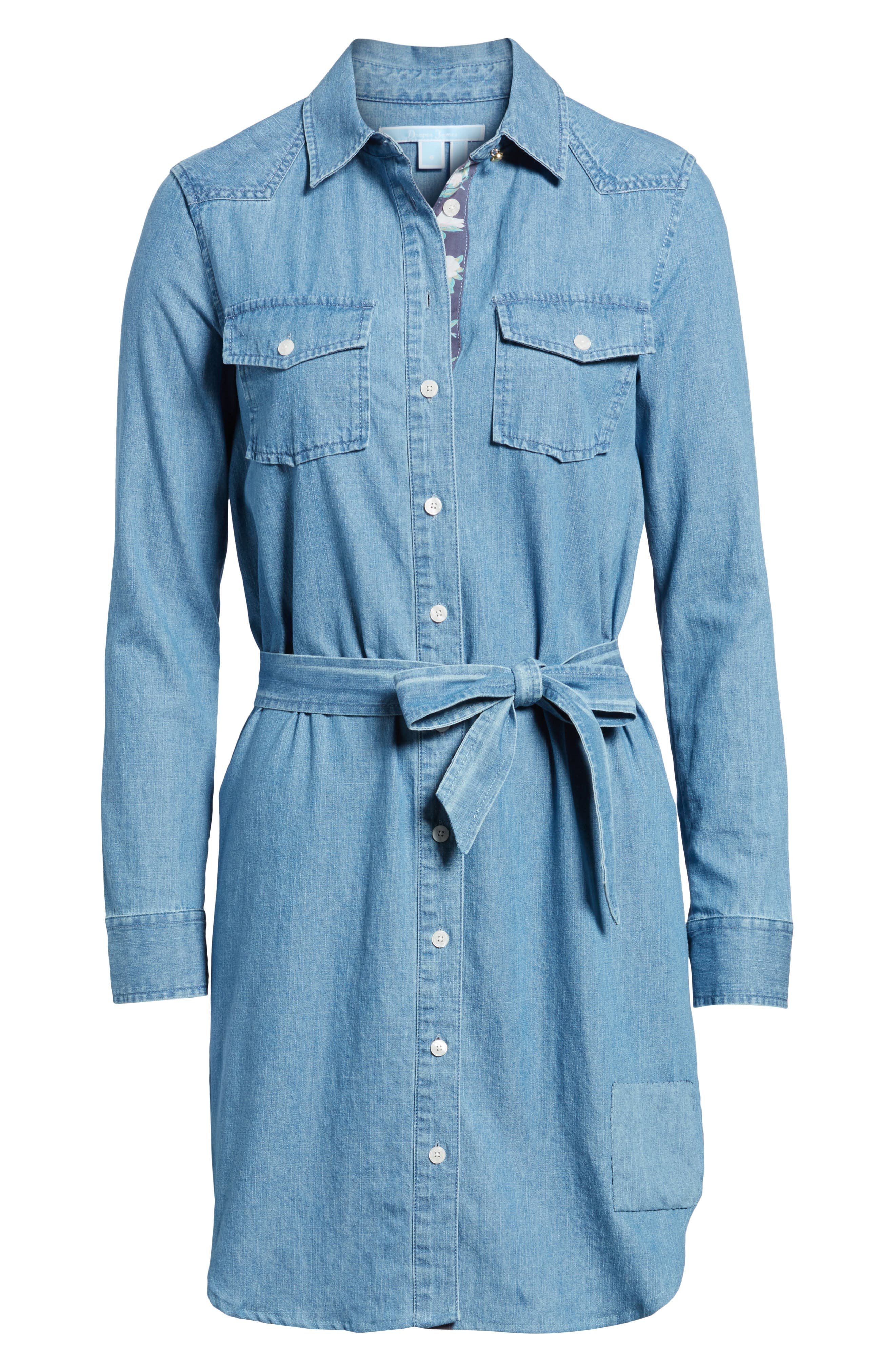 Casual Belted Chambray Shirtdress,                             Alternate thumbnail 6, color,                             Chambray
