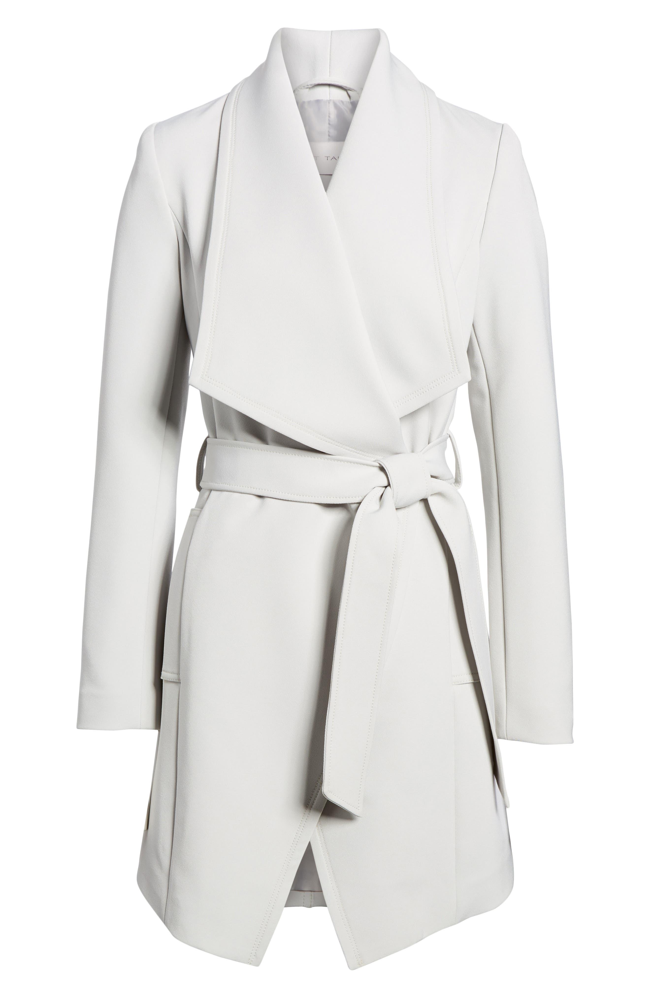 Tahari Abbey Draped Collar Wrap Coat (Regular & Petite)