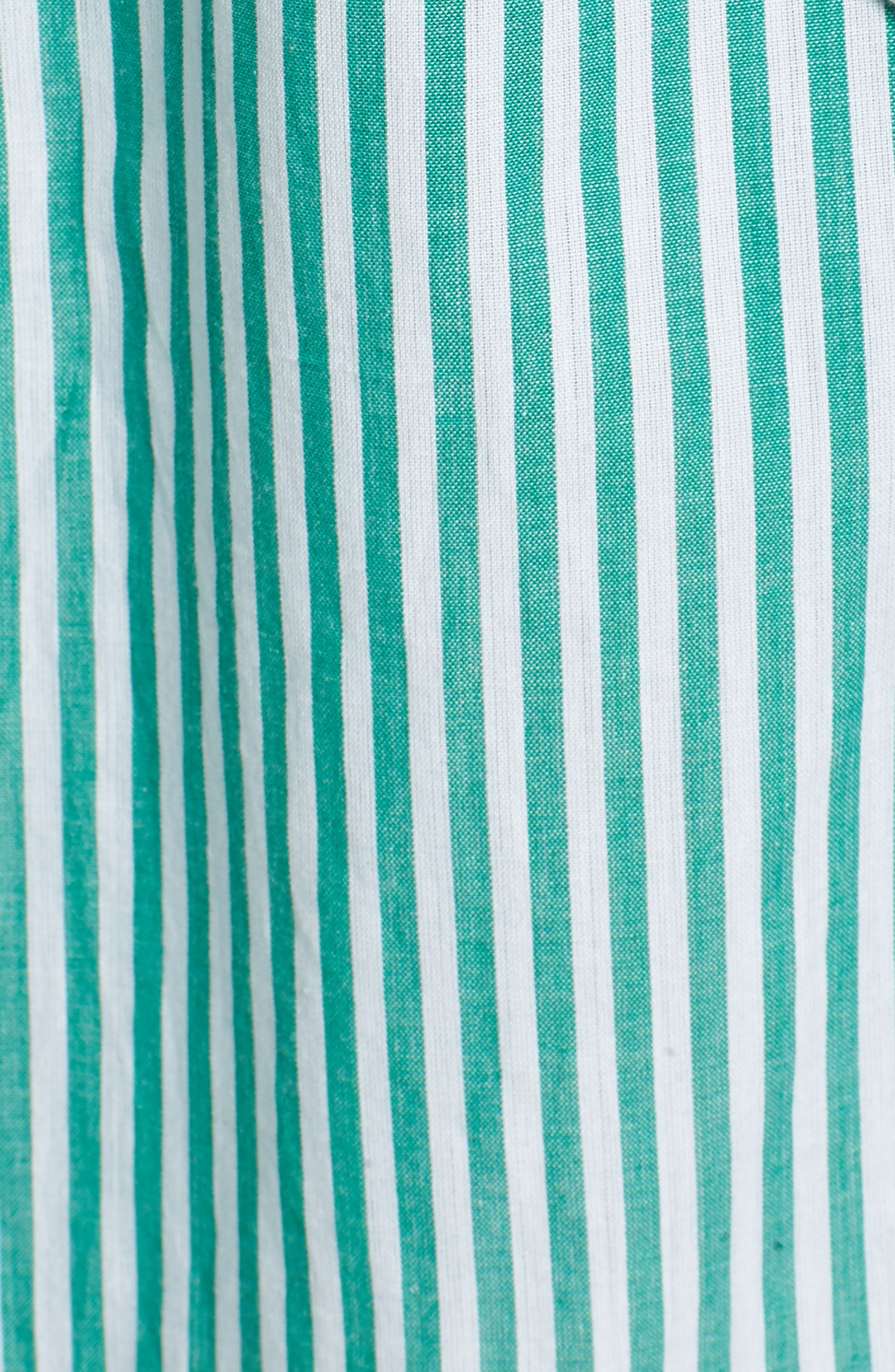 Stripe Cotton Wrap Dress,                             Alternate thumbnail 6, color,                             Green