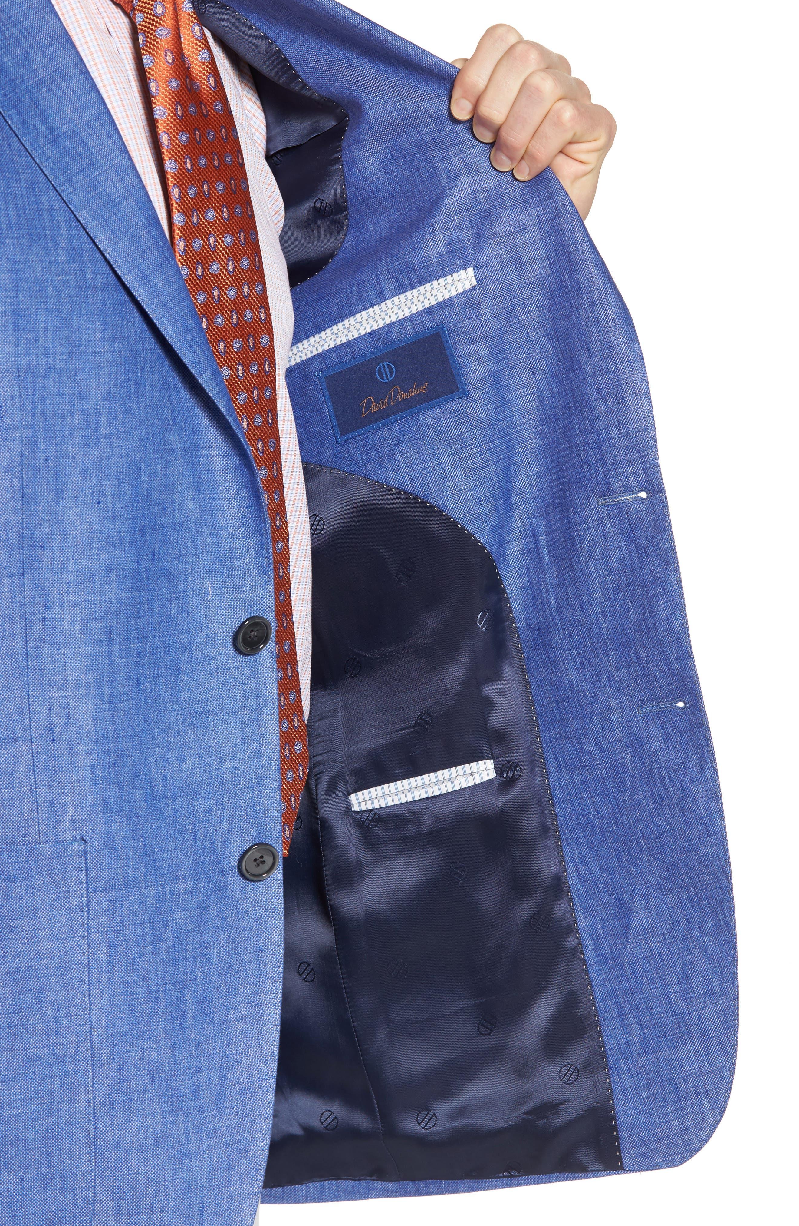 Aiden Classic Fit Linen Blazer,                             Alternate thumbnail 4, color,                             Blue