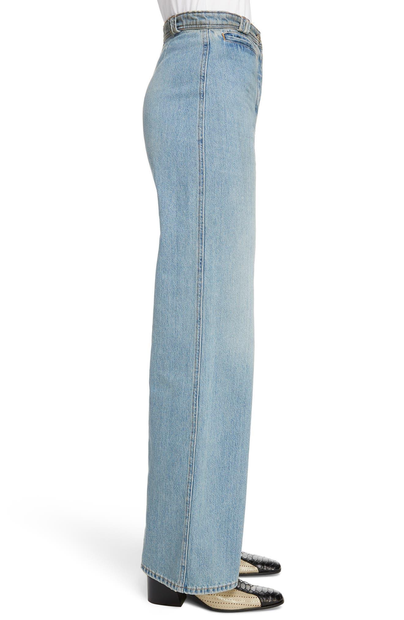 Tiffan Wide Leg Jeans,                             Alternate thumbnail 4, color,                             Blue Vintage