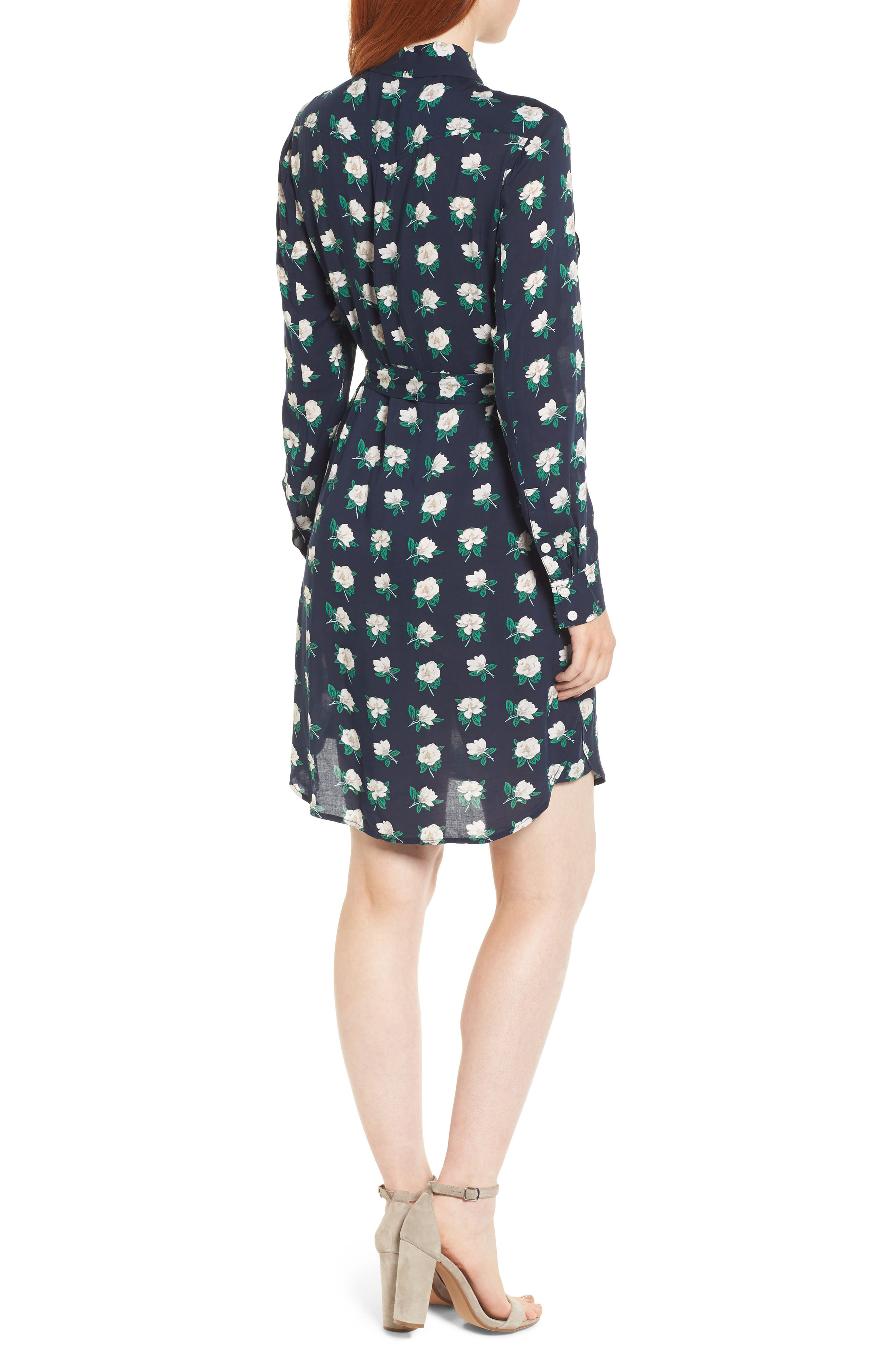 Magnolia Casual Belted Shirtdress,                             Alternate thumbnail 2, color,                             Magnolia Navy