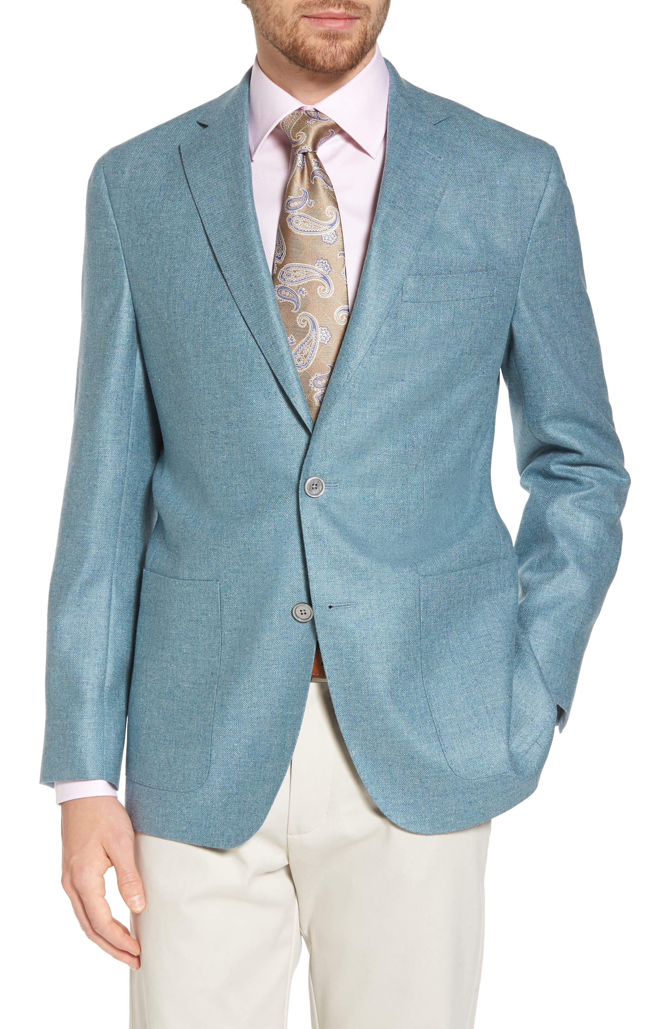 Aiden Classic Fit Silk & Wool Blazer,                         Main,                         color, Teal