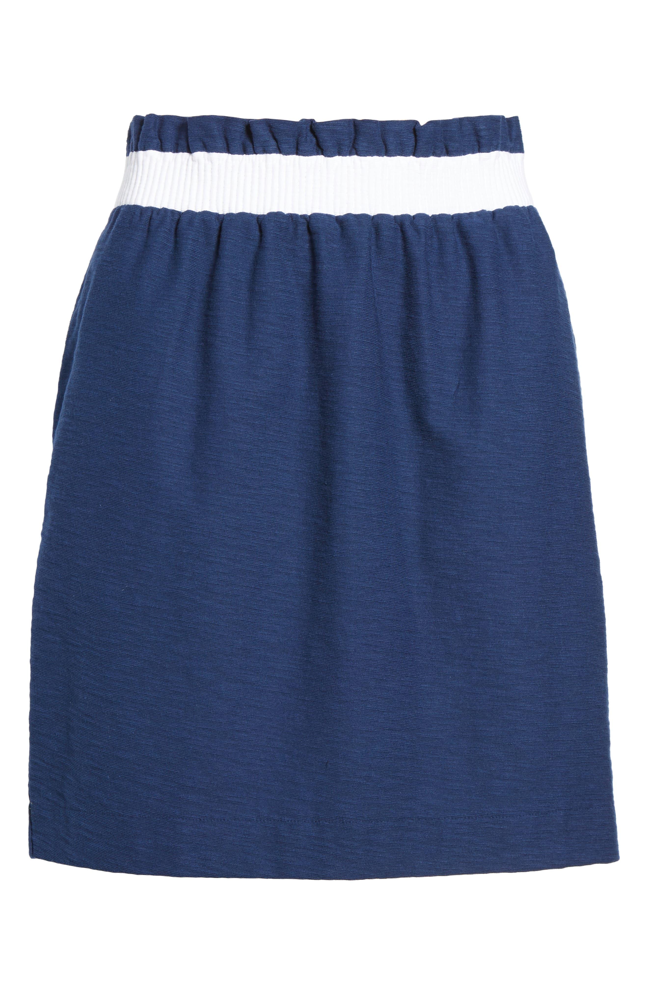 Waistband Stripe Pull On Skirt,                             Alternate thumbnail 6, color,                             Deep Bay