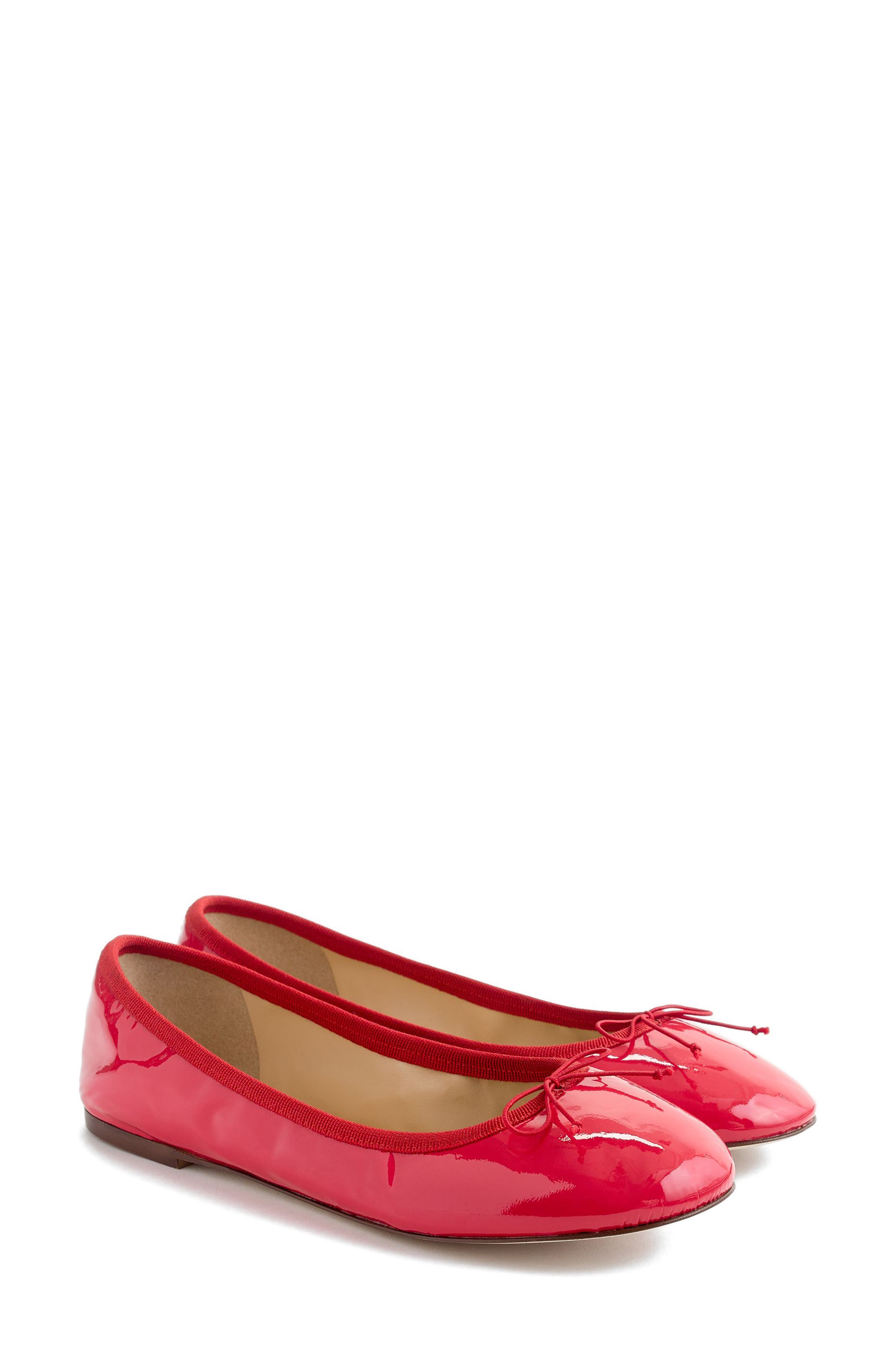 J.Crew Evie Ballet Flat,                             Main thumbnail 1, color,                             Providence Red Leather