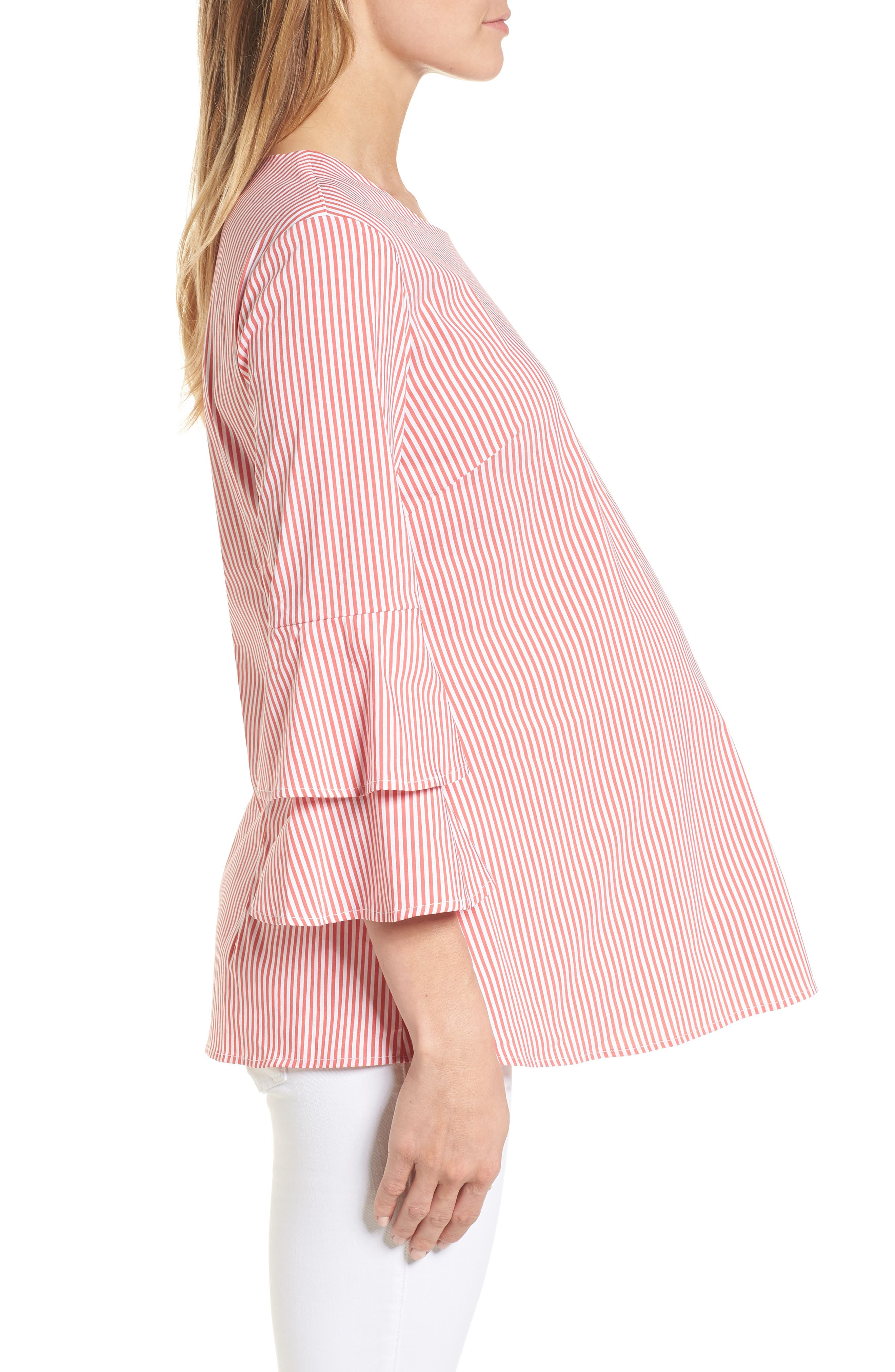 Adrianna Maternity Top,                             Alternate thumbnail 3, color,                             Red/White Stripe