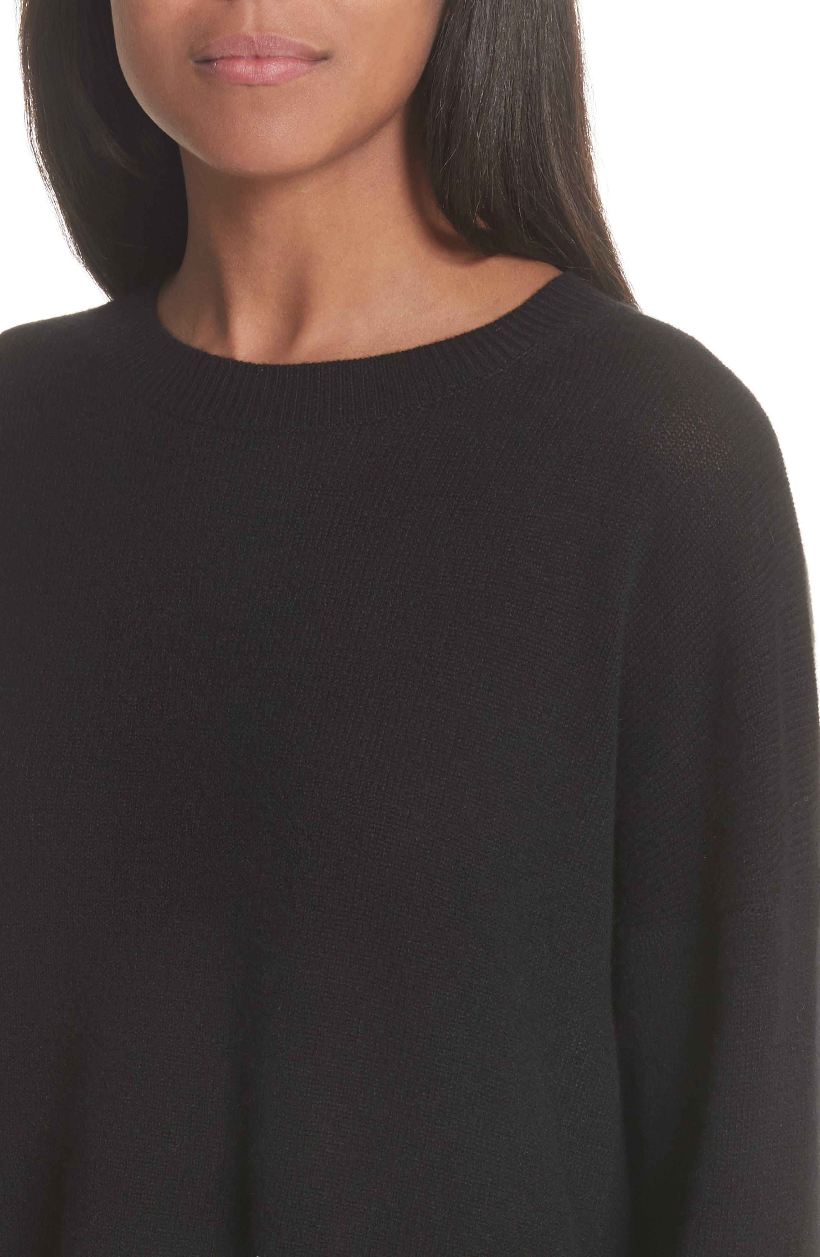 Karenia L Cashmere Sweater,                             Alternate thumbnail 4, color,                             Black