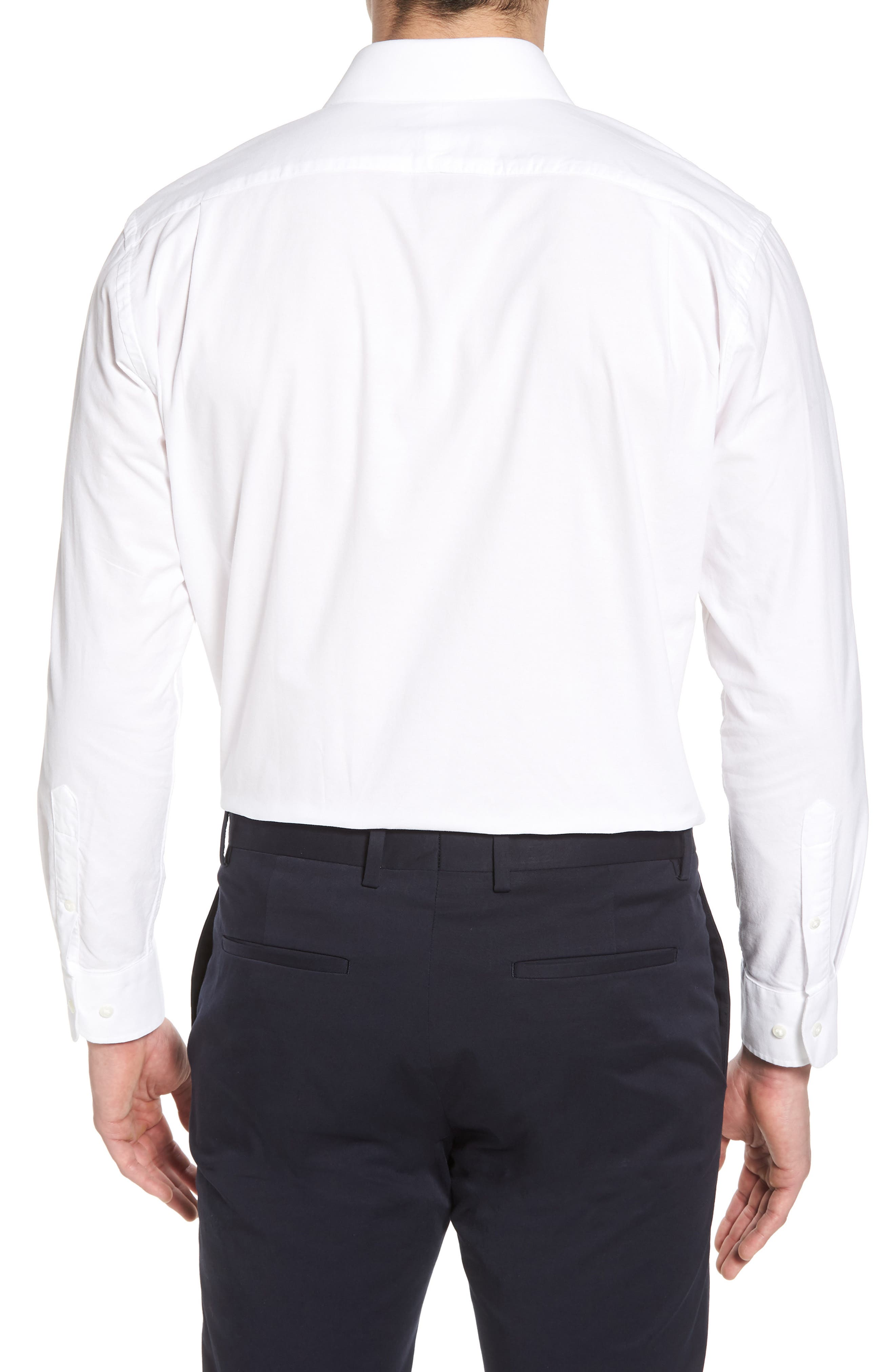 Trim Fit Solid Dress Shirt,                             Alternate thumbnail 3, color,                             White