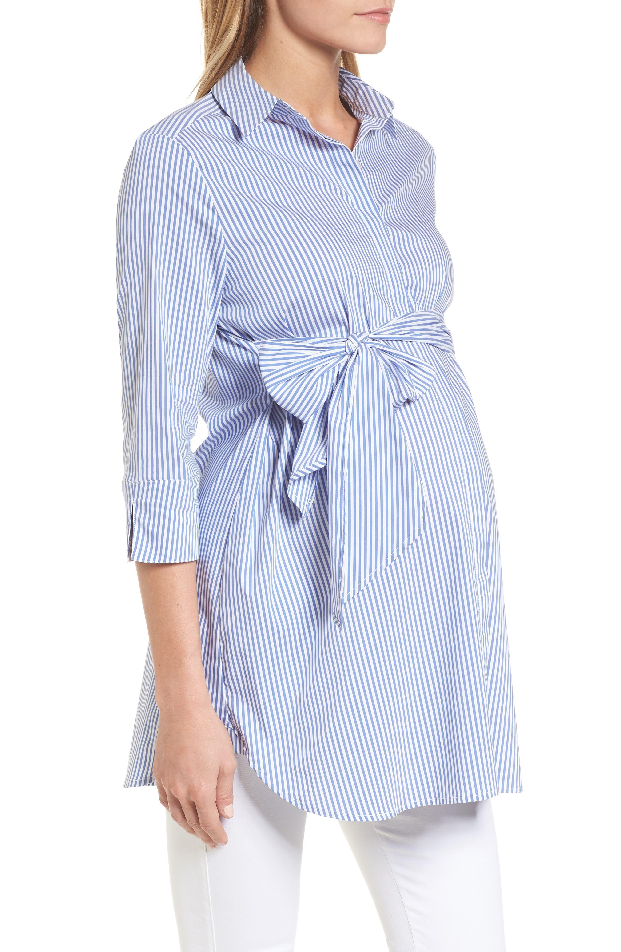 Dora Tie Front Maternity Shirt,                             Alternate thumbnail 4, color,                             Blue/White Stripe