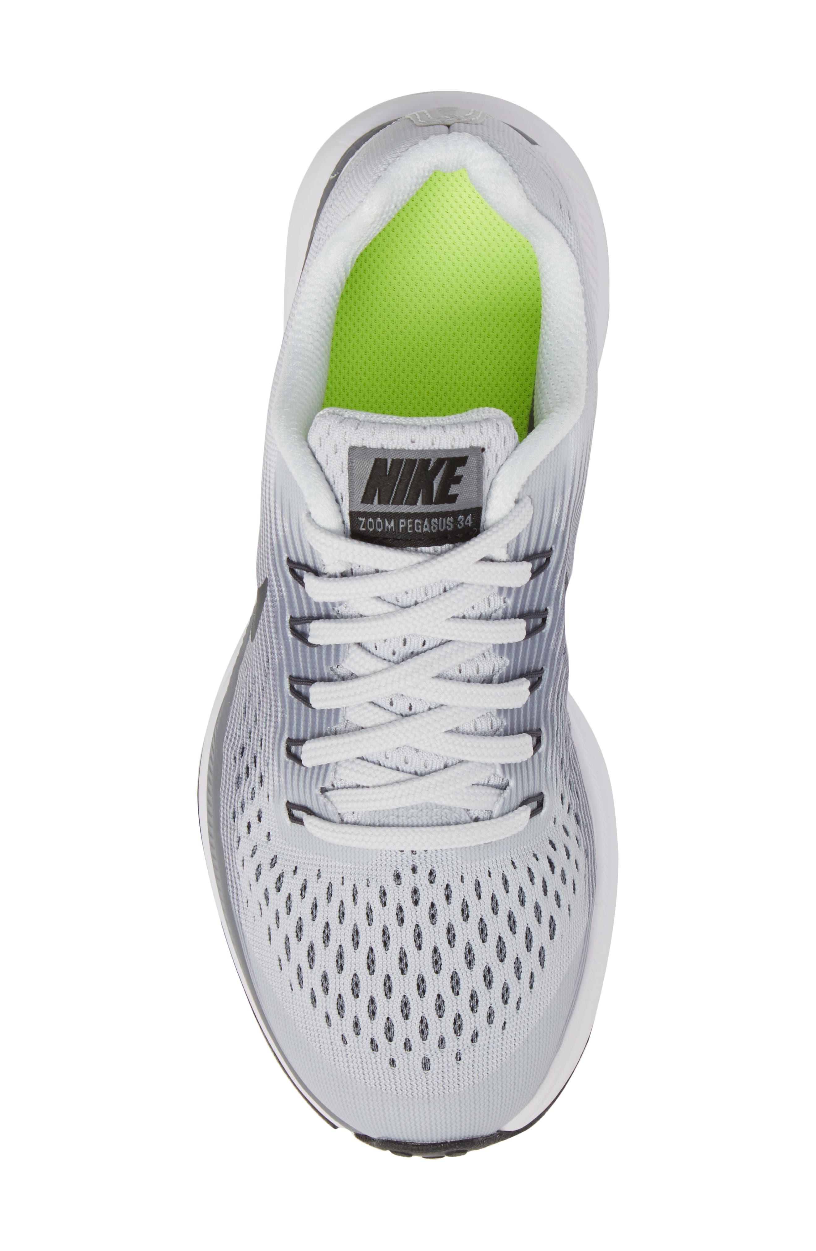 Zoom Pegasus 34 Sneaker,                             Alternate thumbnail 5, color,                             Platinum/ Anthracite/ Grey