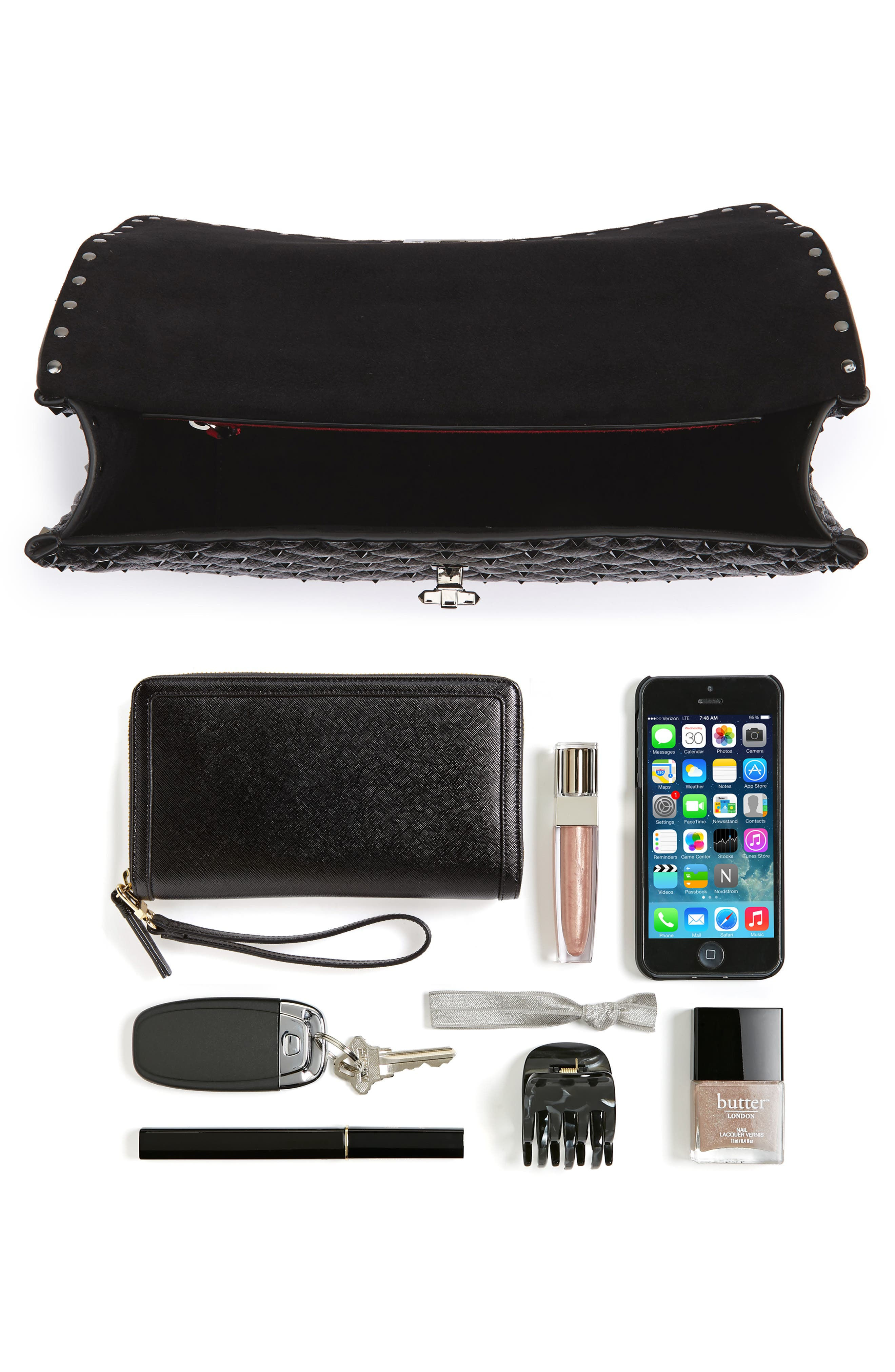 Vitello Rockstud Lambskin Leather Shoulder Bag,                             Alternate thumbnail 7, color,