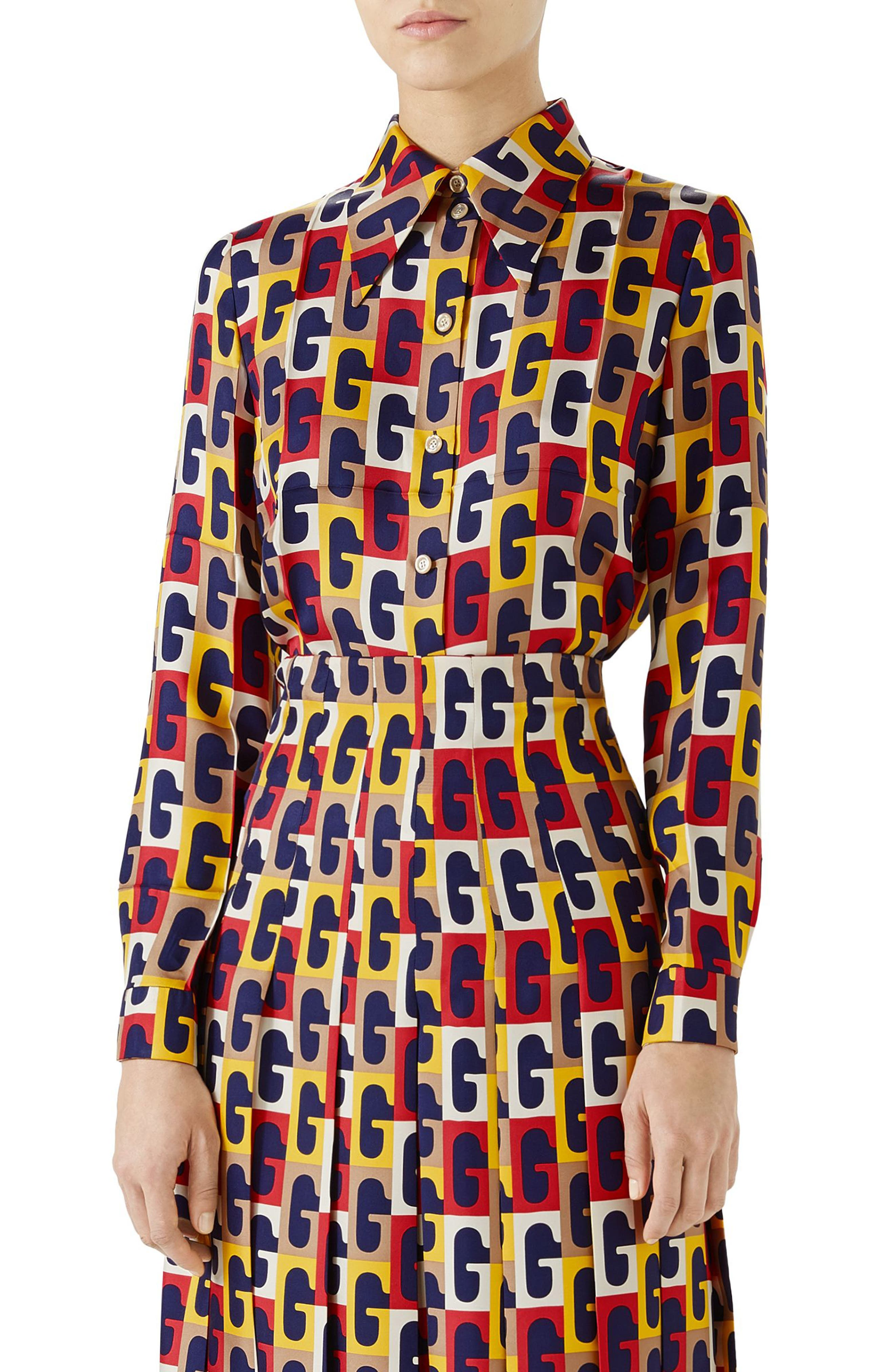G-Sequence Print Silk Shirt,                         Main,                         color, Ivory/ Yellow/ Red Print