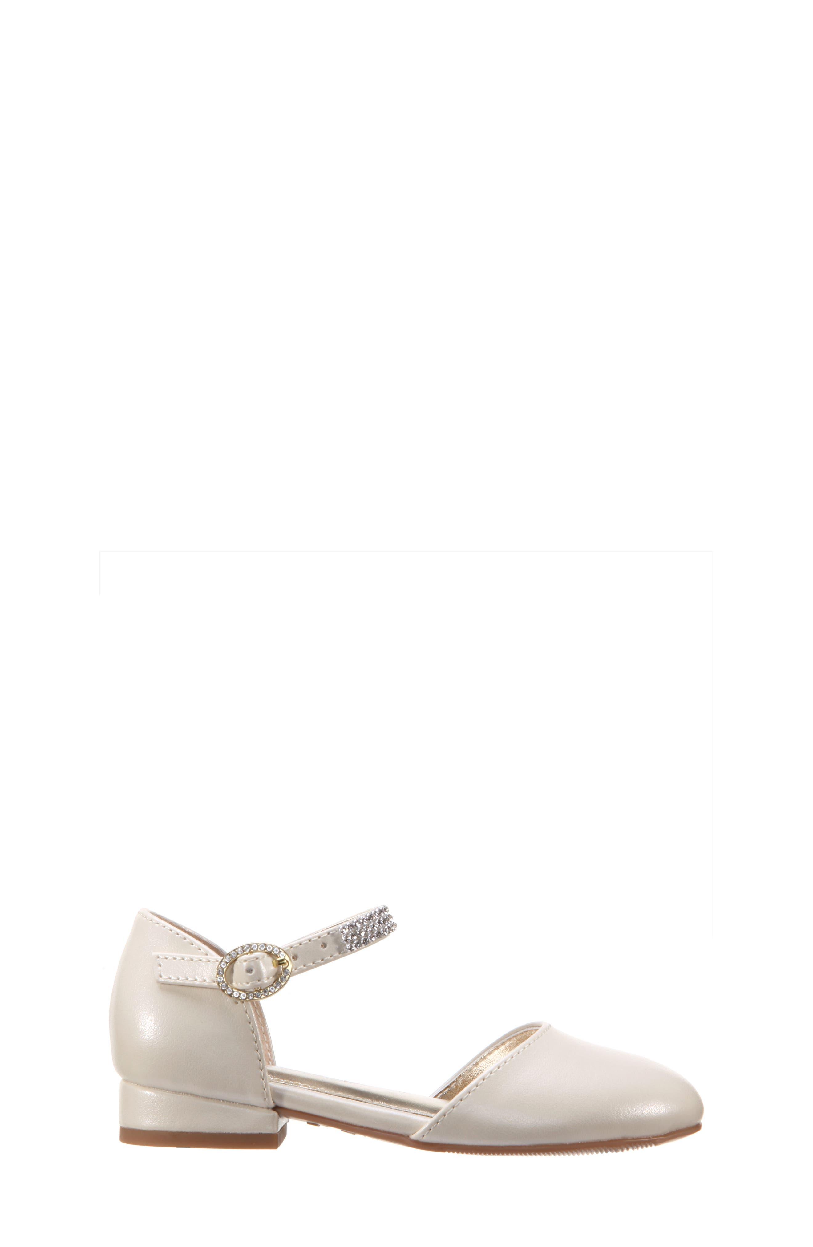 Cara Crystal Embellished d'Orsay Sandal,                             Alternate thumbnail 3, color,                             Bone Pearlized