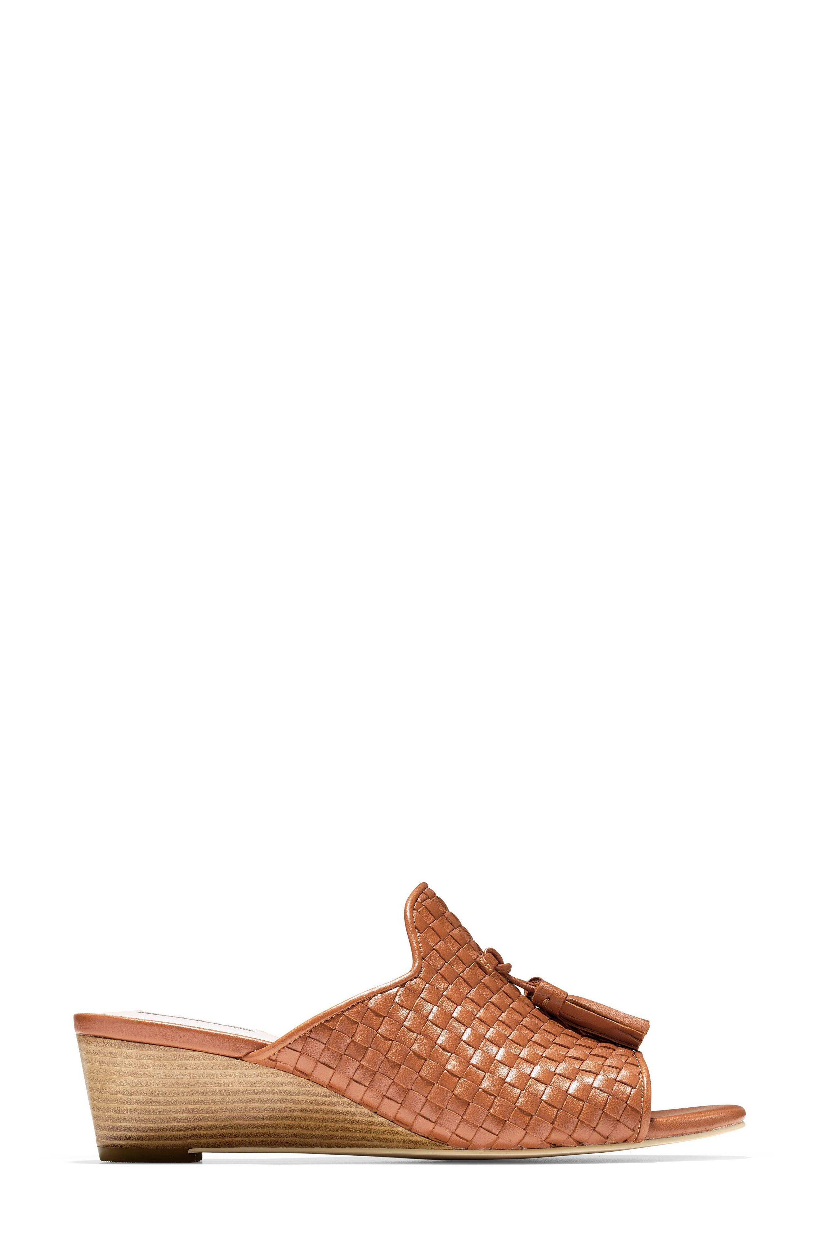 Jagger Wedge Sandal,                             Alternate thumbnail 3, color,                             Acorn Leather