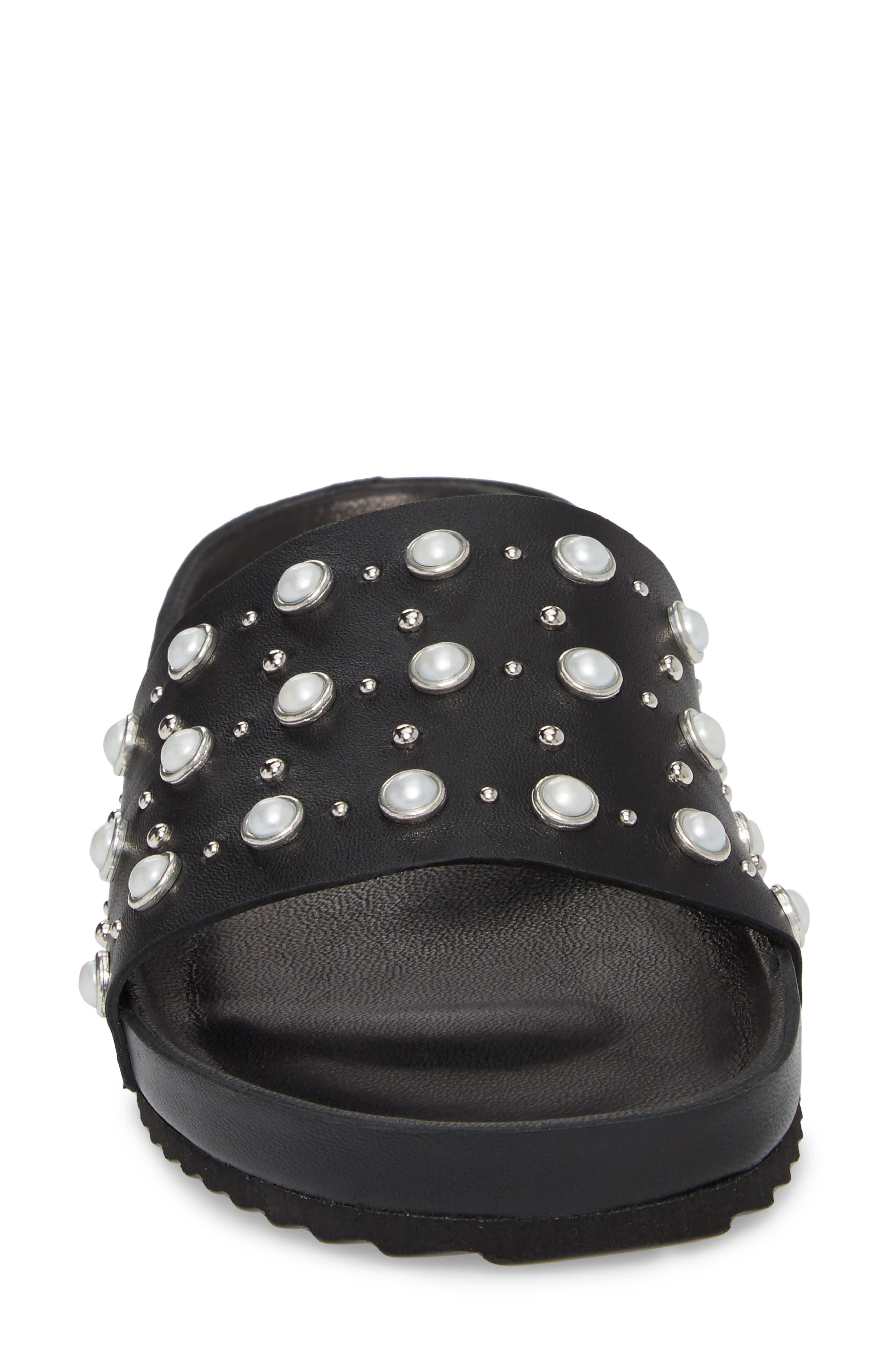 Santori Slide Sandal,                             Alternate thumbnail 4, color,                             Napa Black Leather