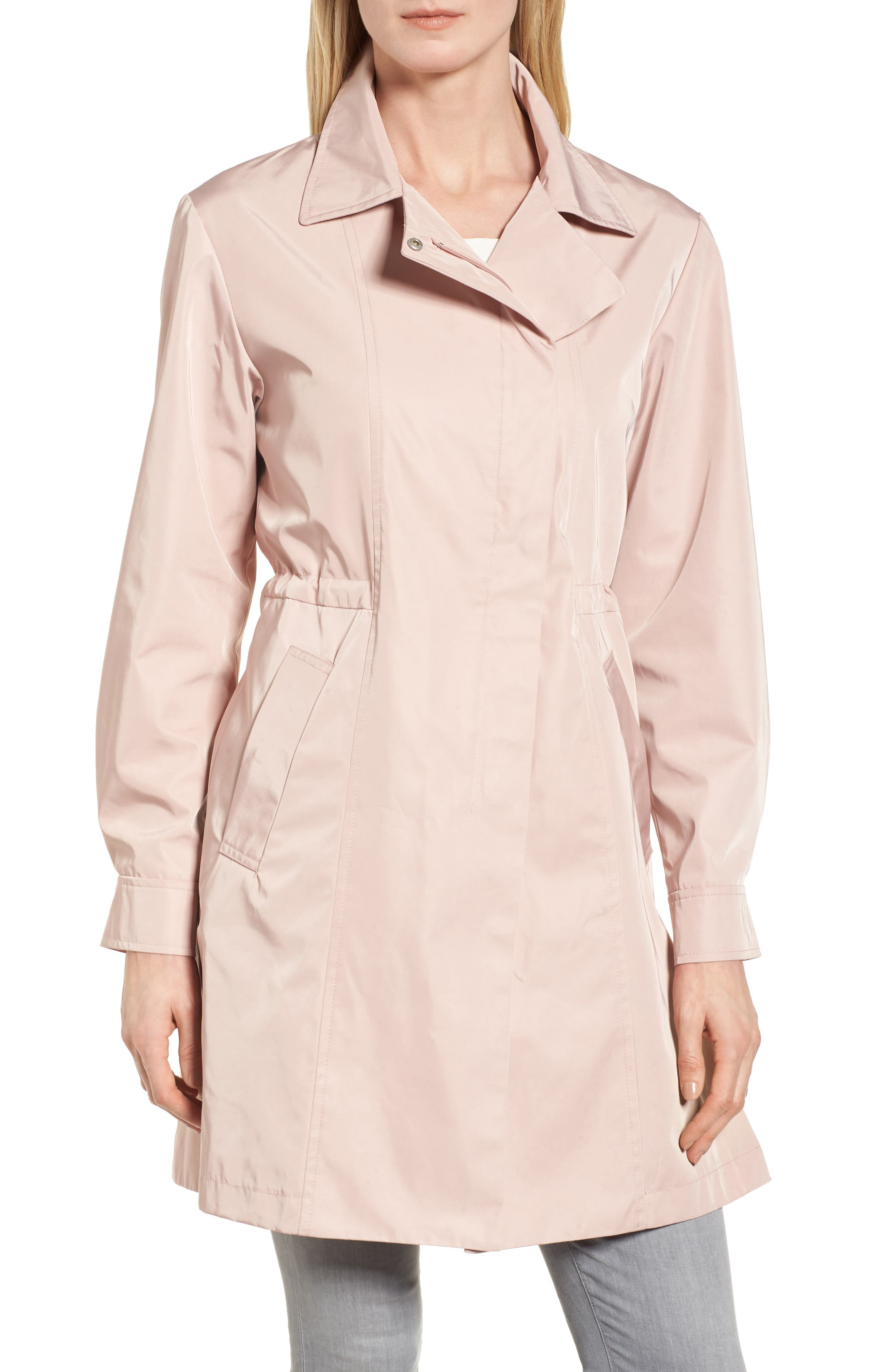 Tech Hooded Trench Coat,                             Alternate thumbnail 4, color,                             Misty Rose