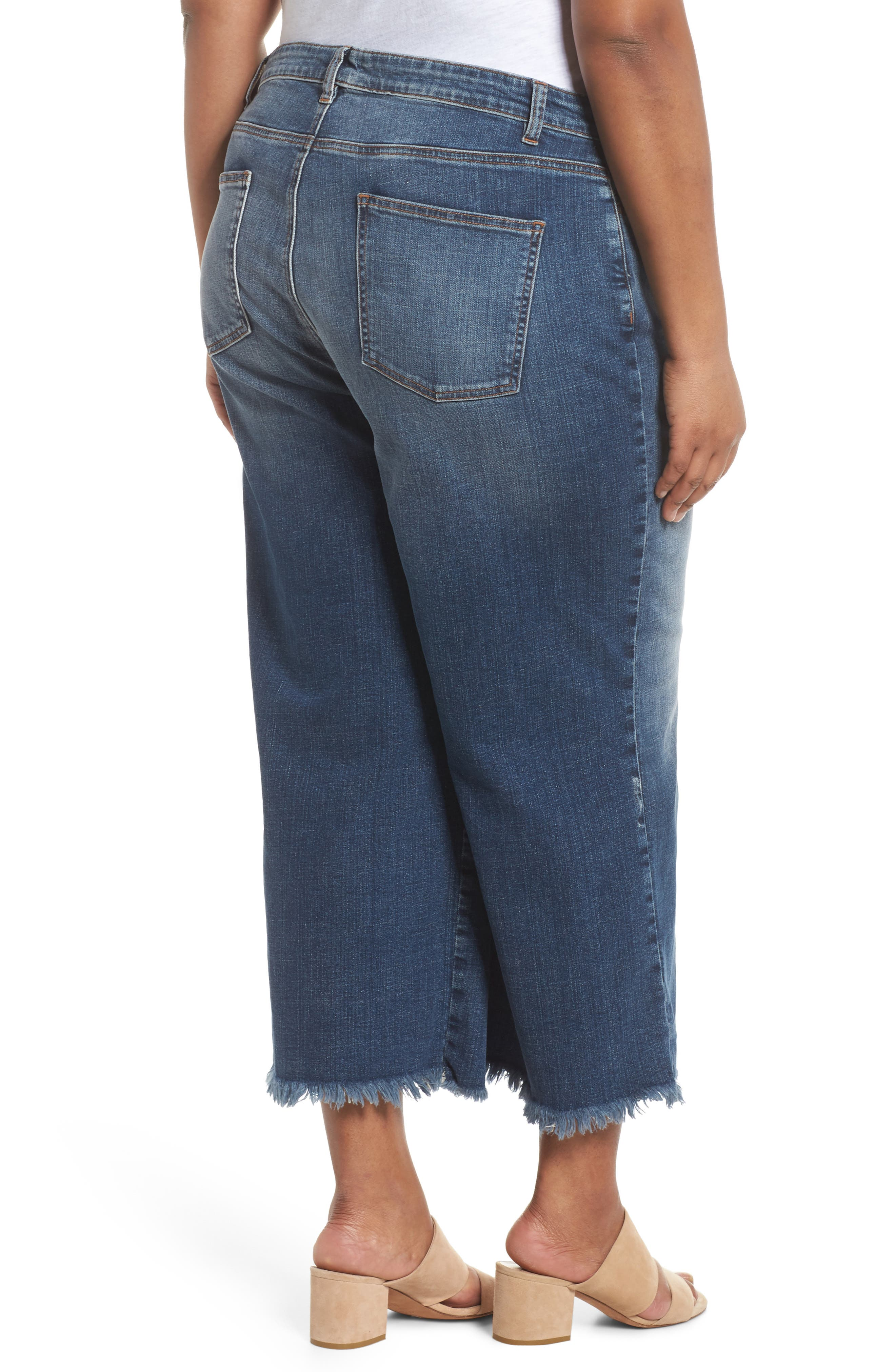 Wide Leg Ankle Jeans,                             Alternate thumbnail 2, color,                             Aged Indigo