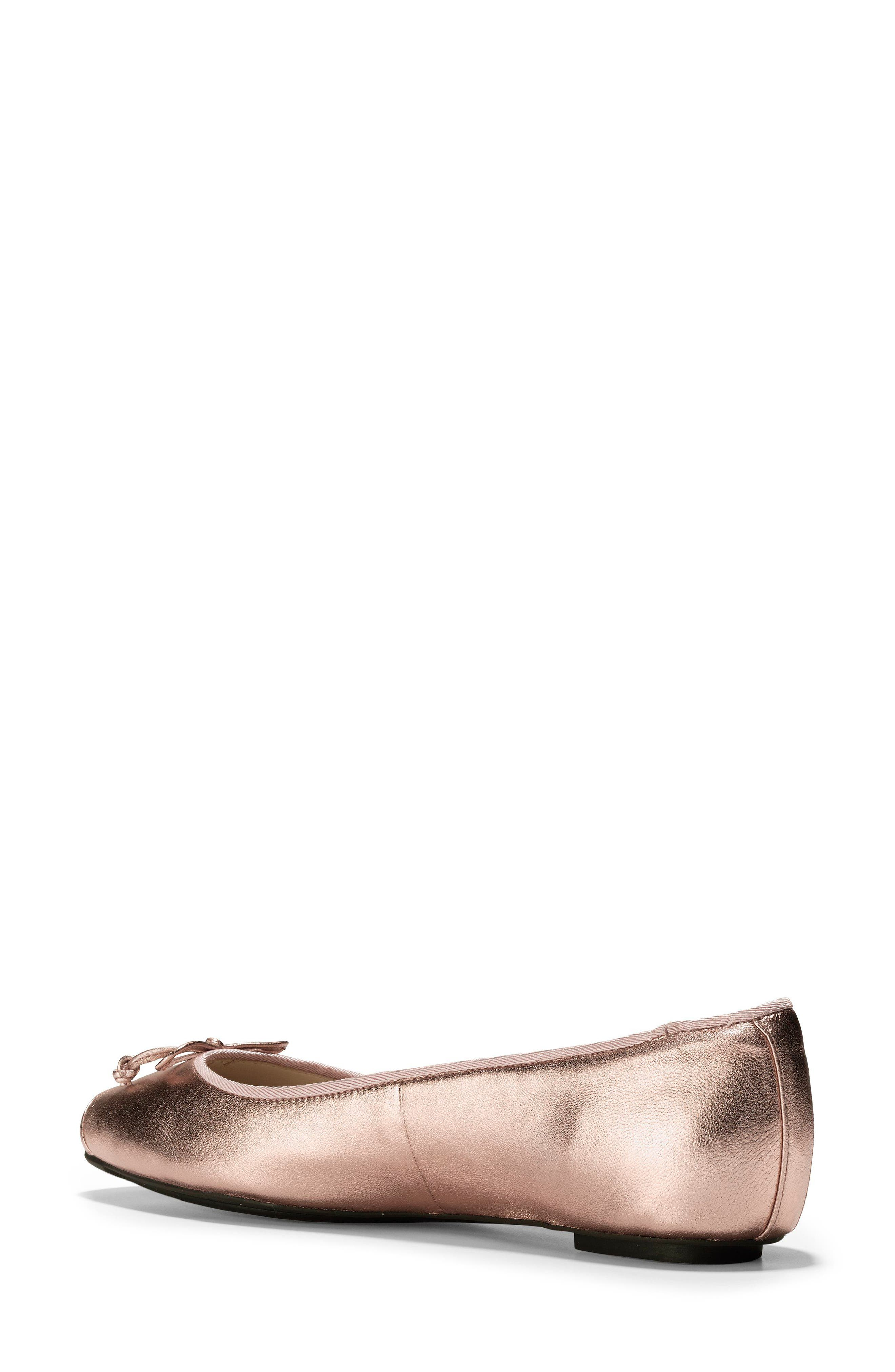 Downtown Ankle Wrap Ballet Flat,                             Alternate thumbnail 2, color,                             Rose Gold Leather