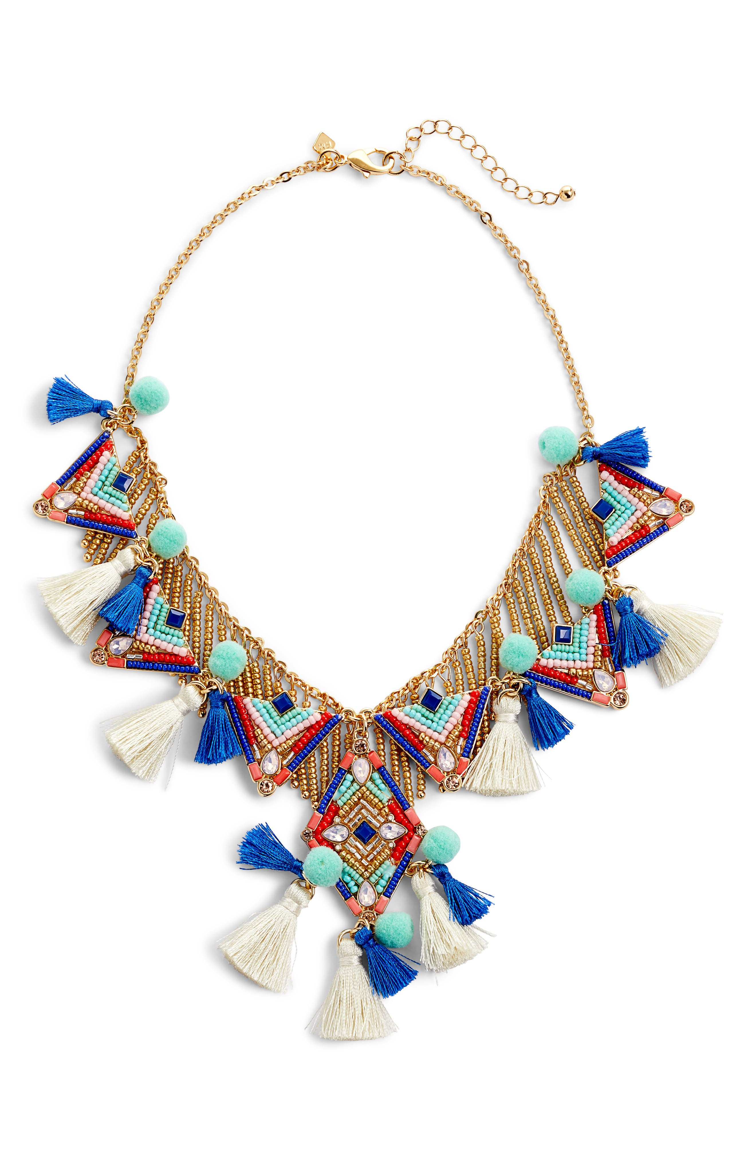 Geo Drama Statement Necklace,                             Alternate thumbnail 2, color,                             Multi/ Gold