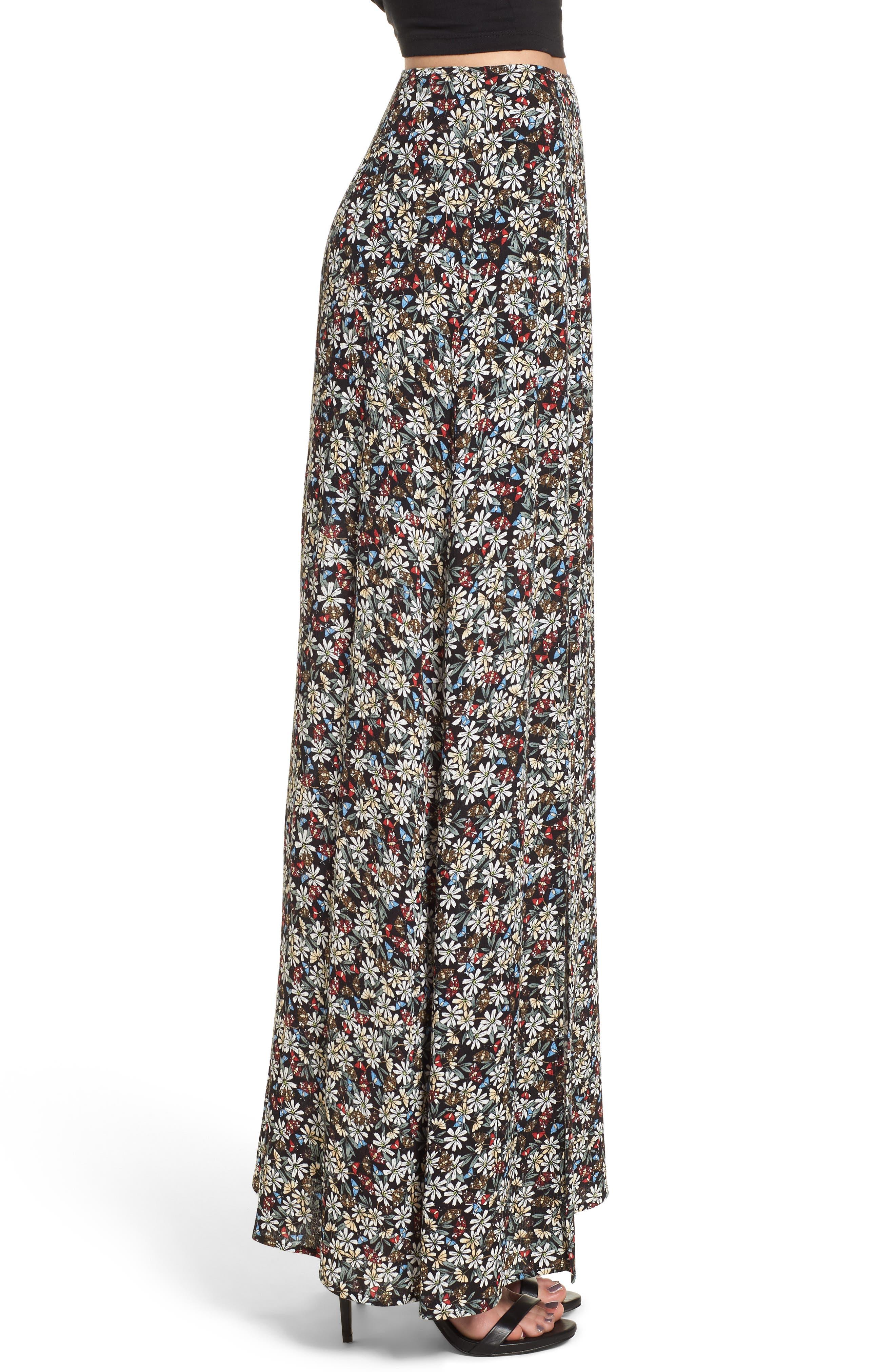 Flora Slit Front Maxi Skirt,                             Alternate thumbnail 4, color,                             Multi Black