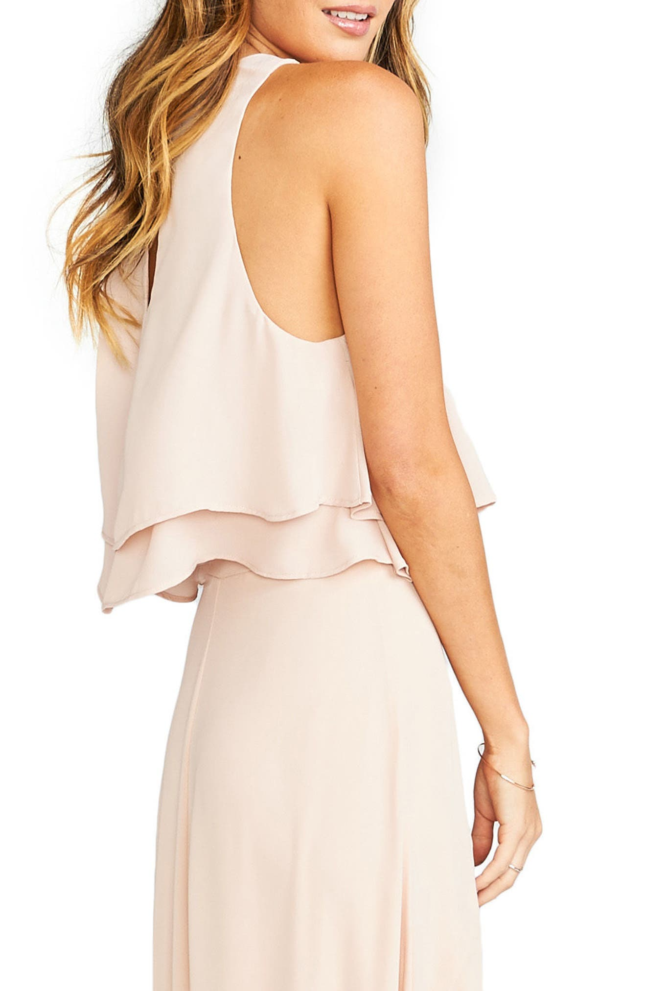 'King' Tiered Chiffon Crop Top,                             Alternate thumbnail 3, color,                             Dusty Blush
