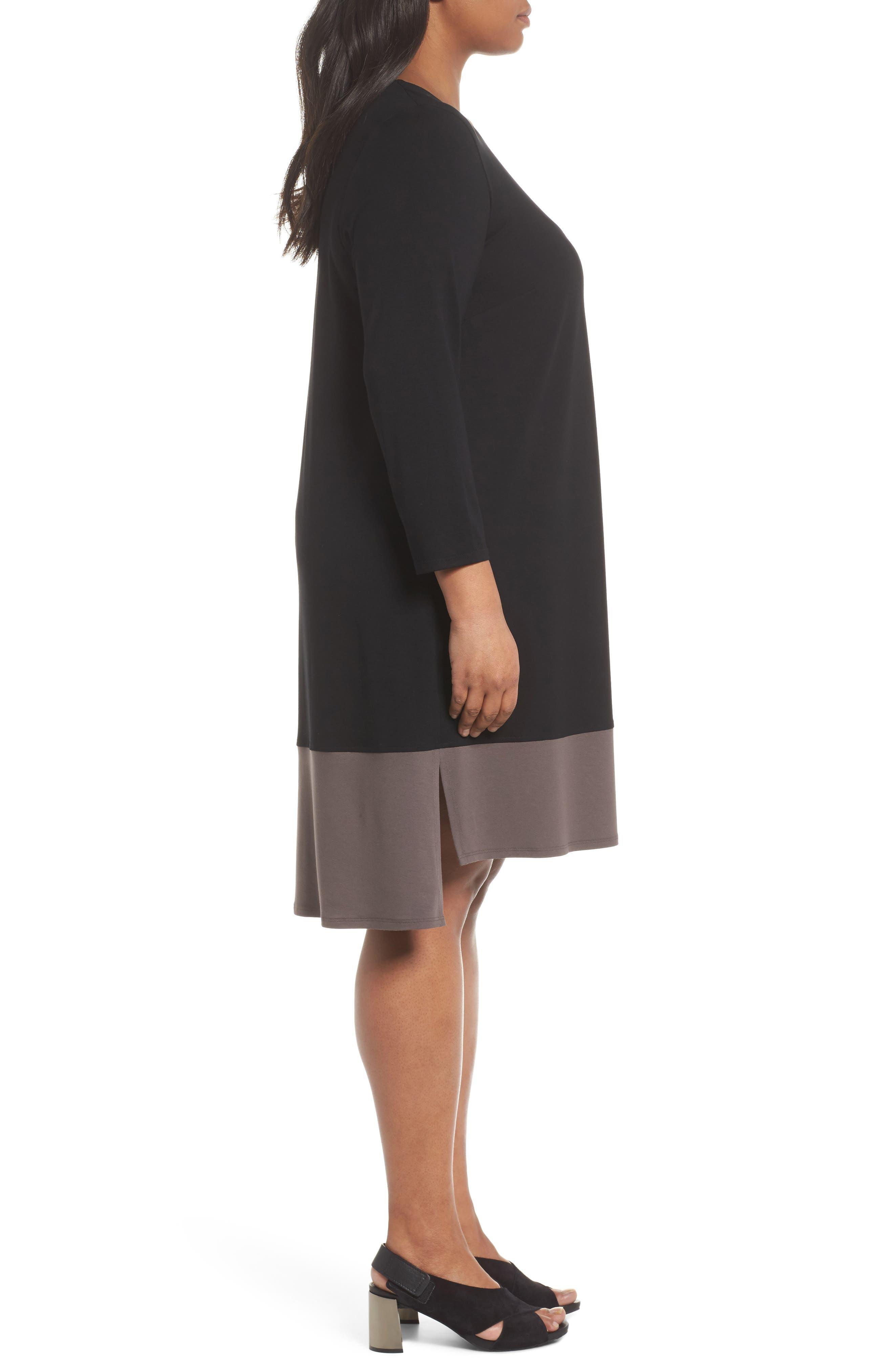 Colorblock Jersey Shift Dress,                             Alternate thumbnail 3, color,                             Black