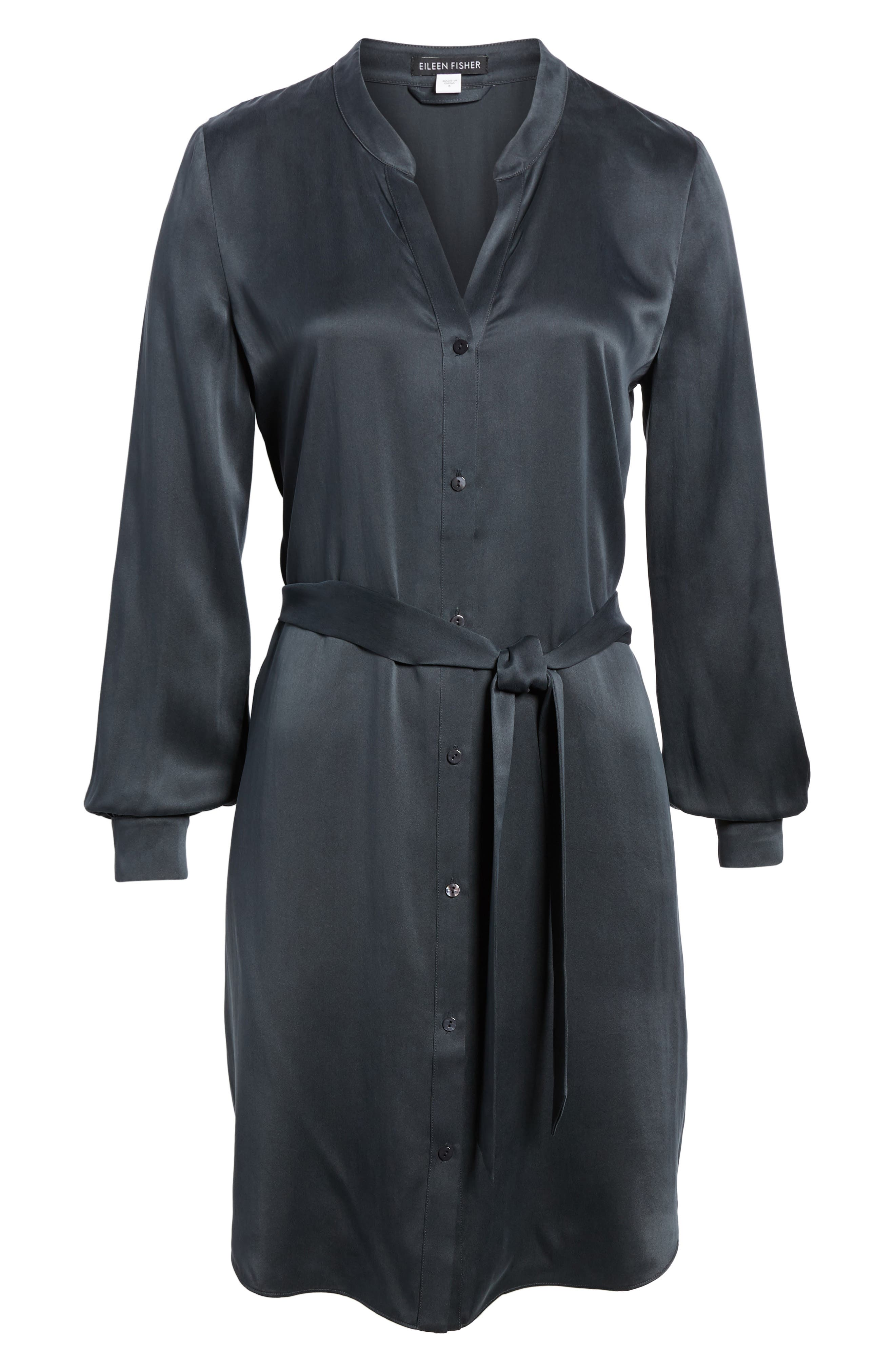 Silk Shirtdress,                             Alternate thumbnail 6, color,                             Graphite