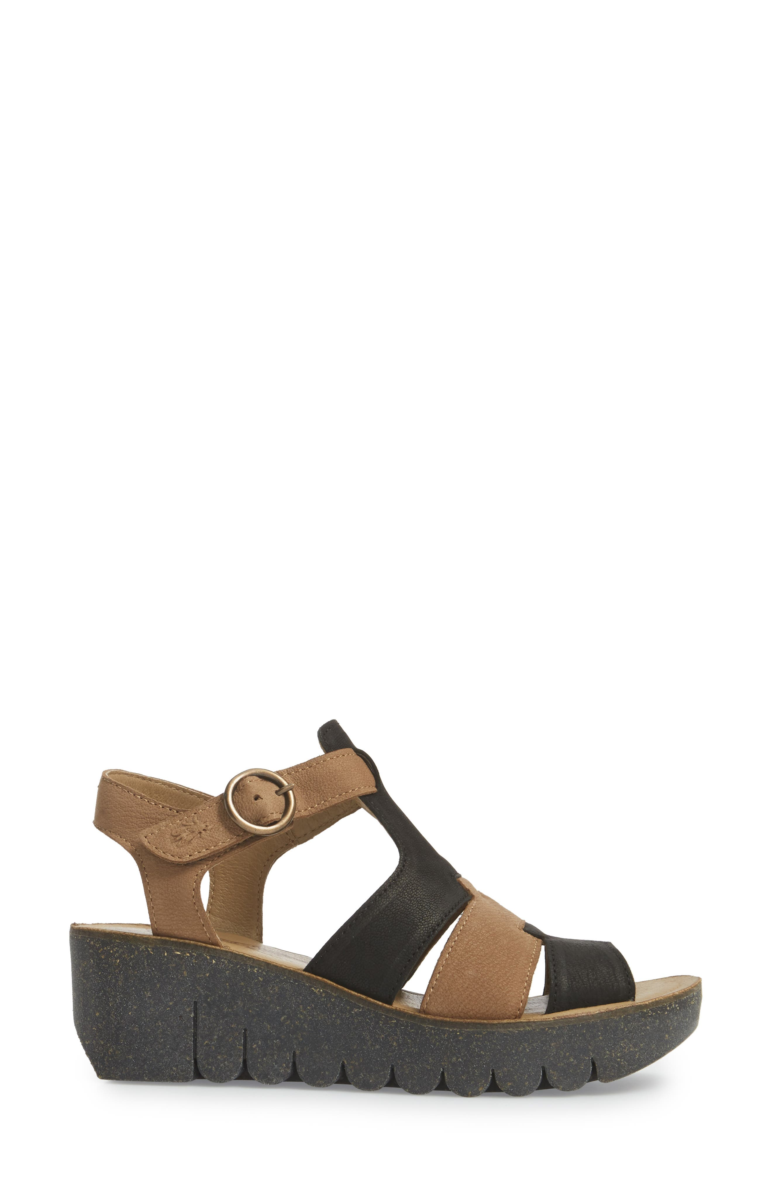 Yuni Wedge Sandal,                             Alternate thumbnail 3, color,                             Black/ Sand Cupido Leather