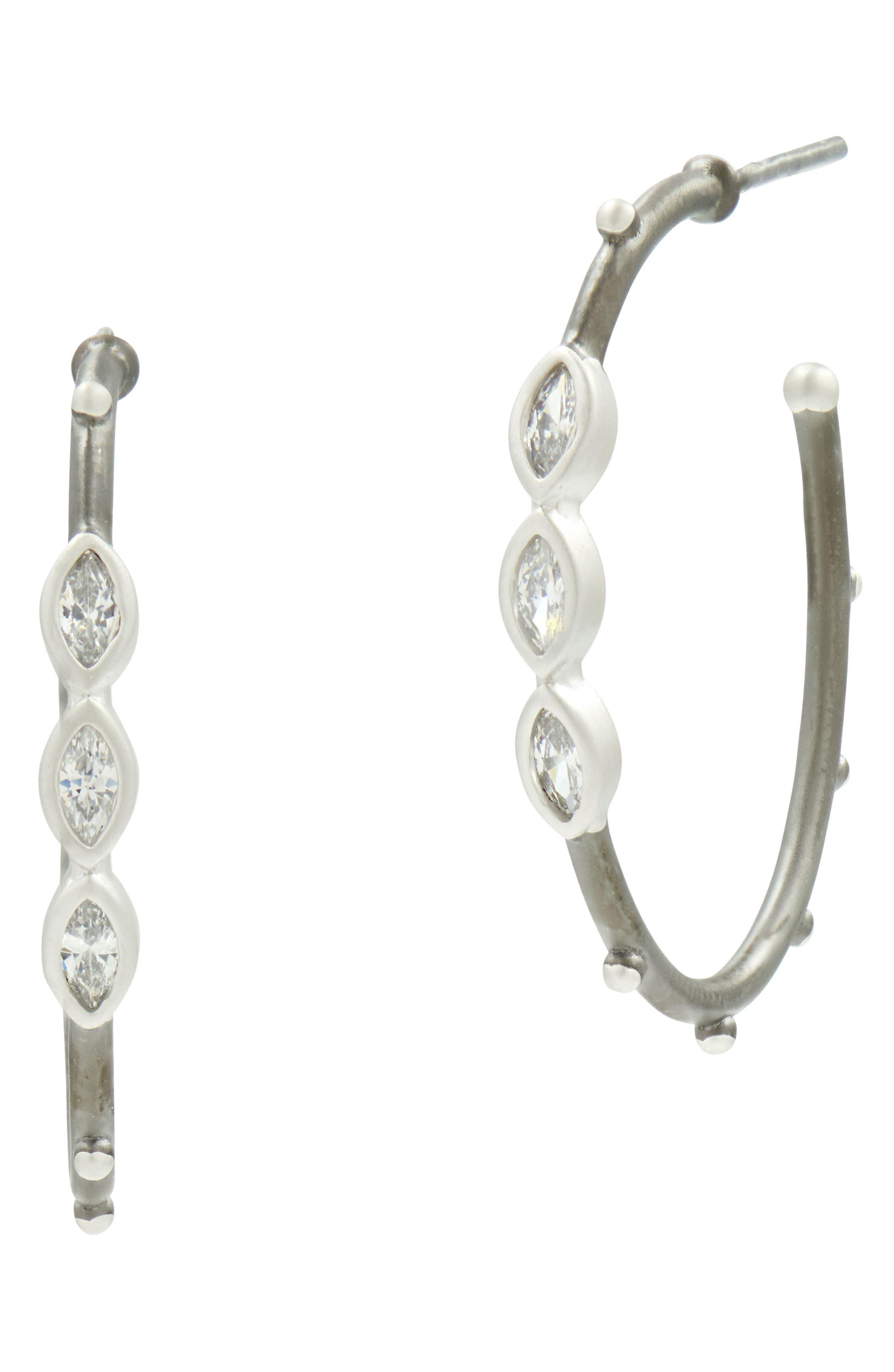Marquise Hoop Earrings,                             Main thumbnail 1, color,                             Silver/ Black Rhodium