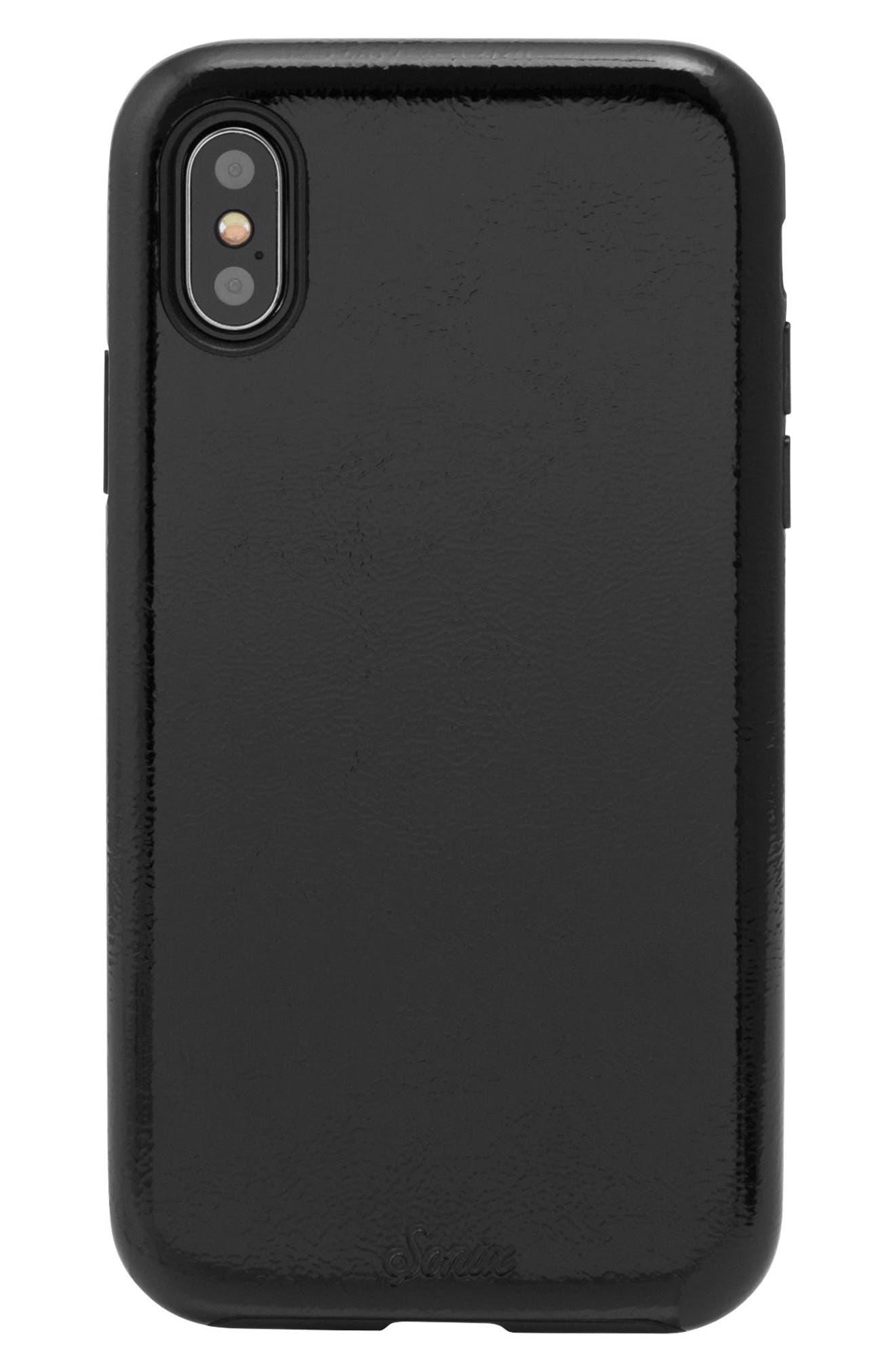 Black Patent Faux Leather iPhone X Case,                             Main thumbnail 1, color,                             Black