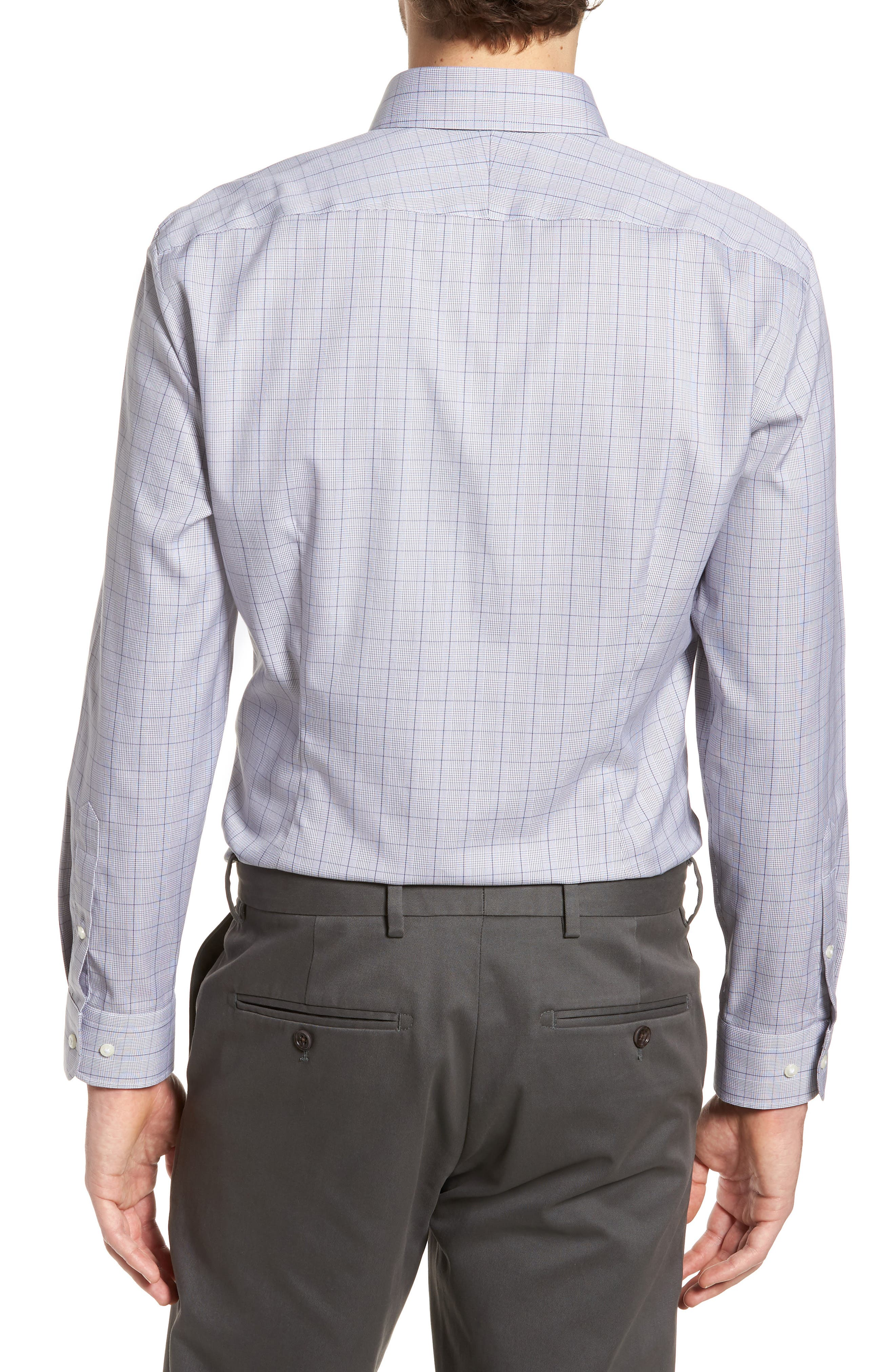 Smartcare<sup>™</sup> Extra Trim Fit Plaid Dress Shirt,                             Alternate thumbnail 3, color,                             Grey Filigree