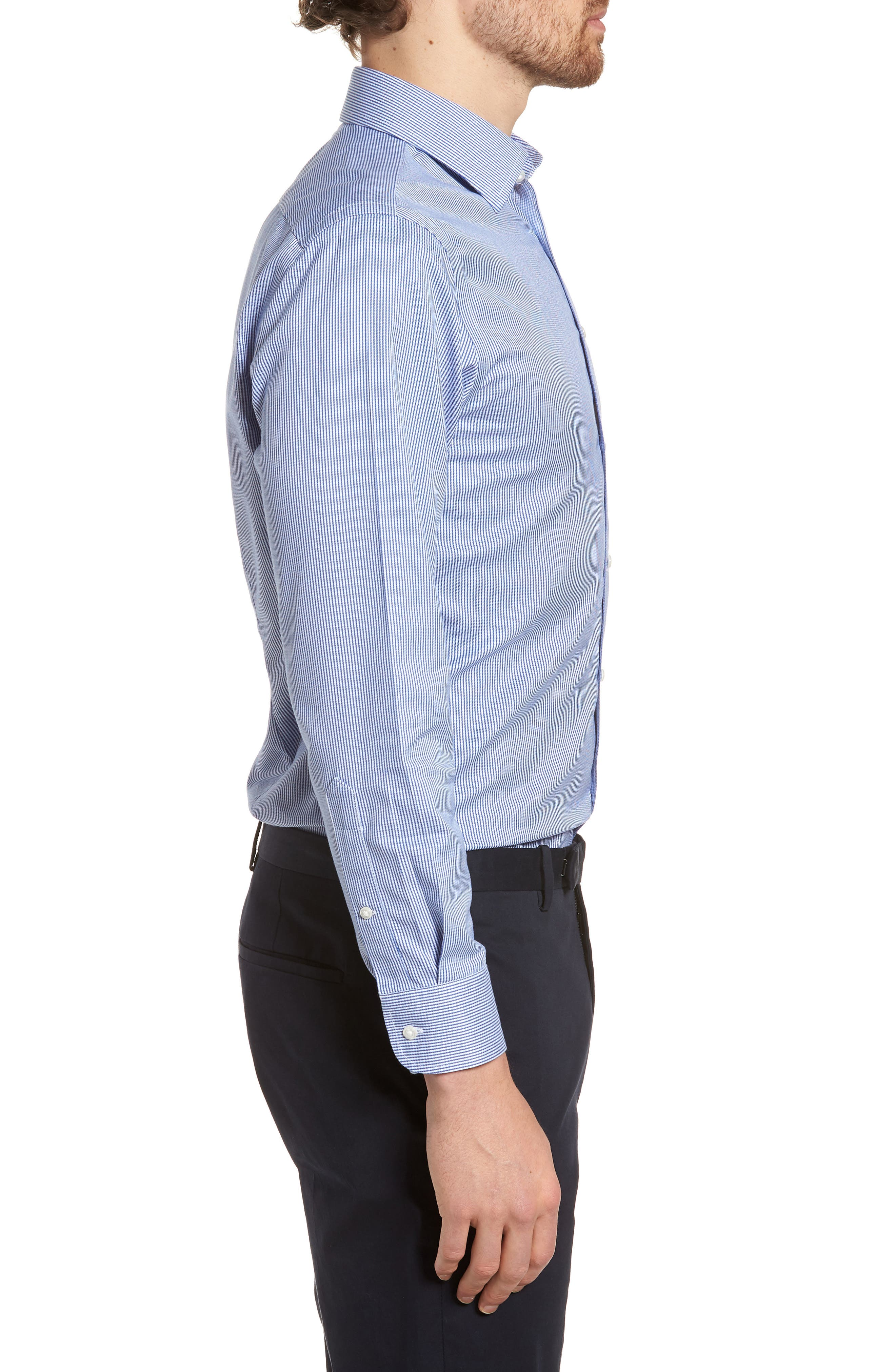 Smartcare<sup>™</sup> Extra Trim Fit Stripe Dress Shirt,                             Alternate thumbnail 4, color,                             Navy Print