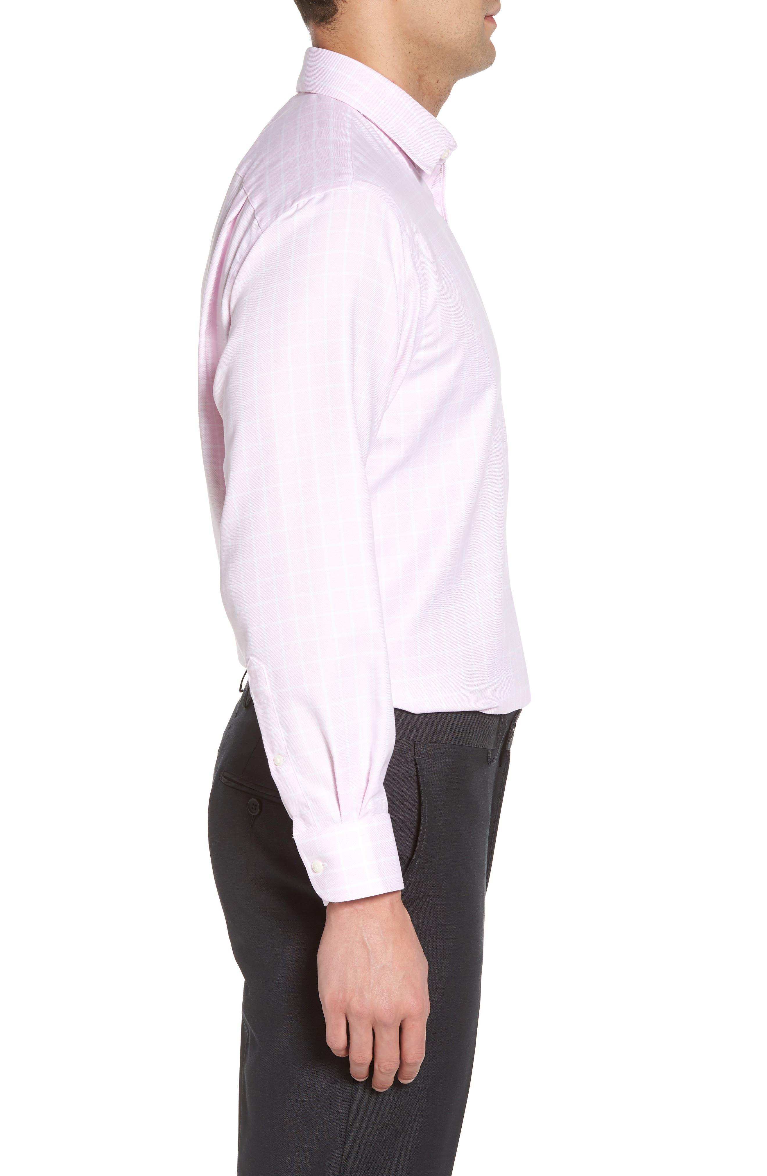 Classic Fit Non-Iron Check Dress Shirt,                             Alternate thumbnail 4, color,                             Pink Lavender